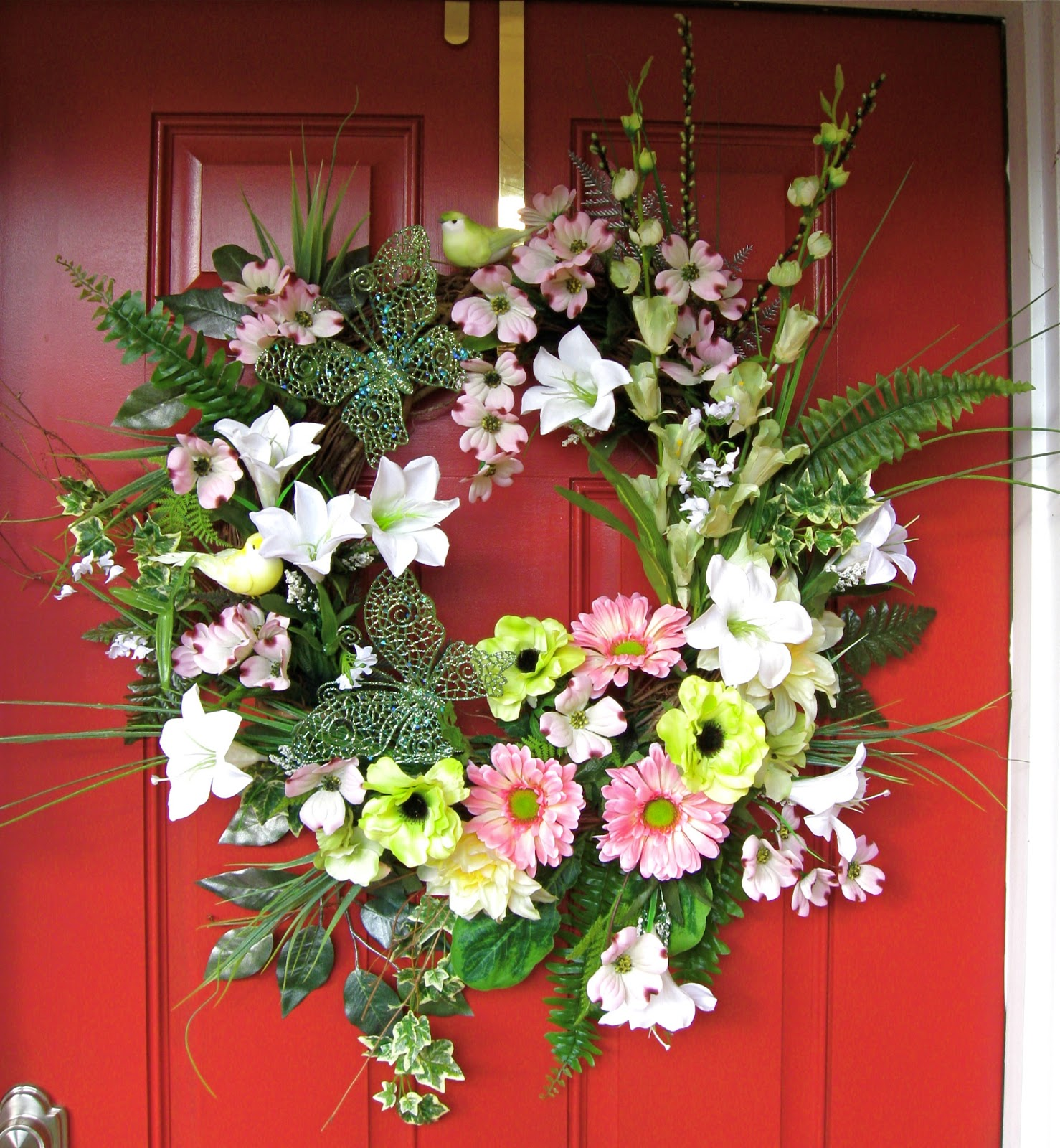 Easter Dogwood, Daisy, and Lily Wreath