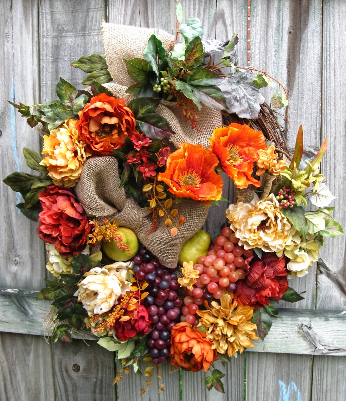 Sienna Rust Tuscan Poppy and Peony Wreath