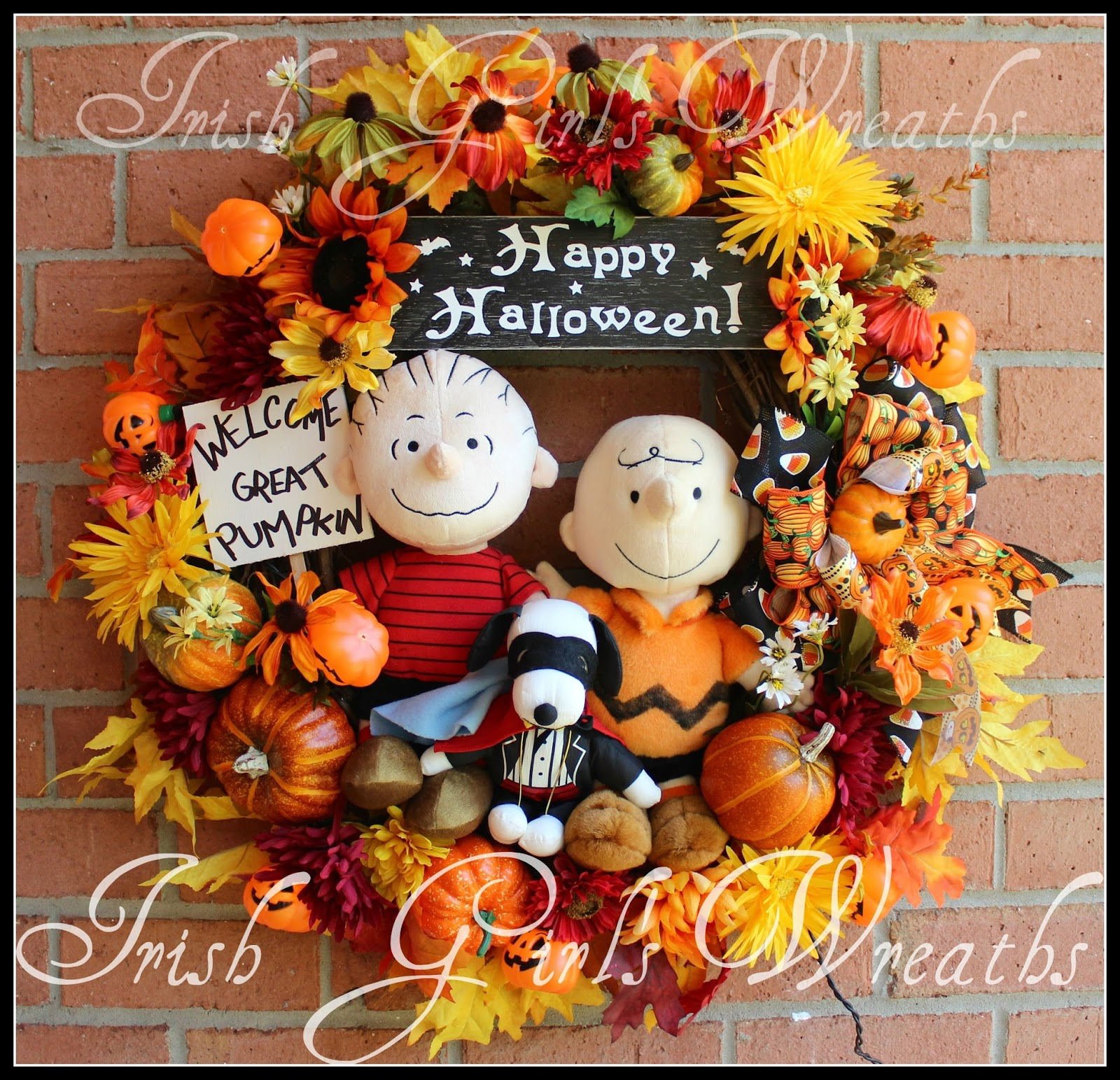 Welcome Great Pumpkin Linus, Snoopy, and Charlie Brown Halloween Wreath