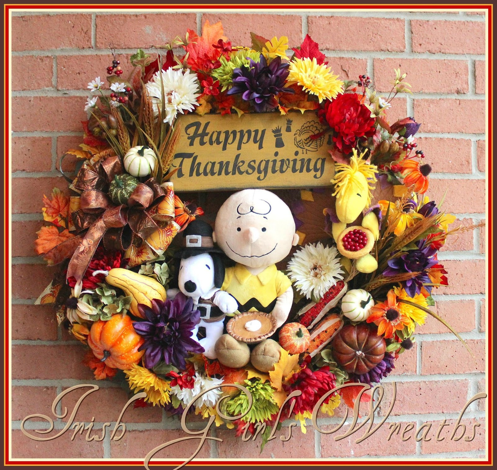 It's Thanksgiving Charlie Brown Wreath, Peanuts, Snoopy, Woodstock