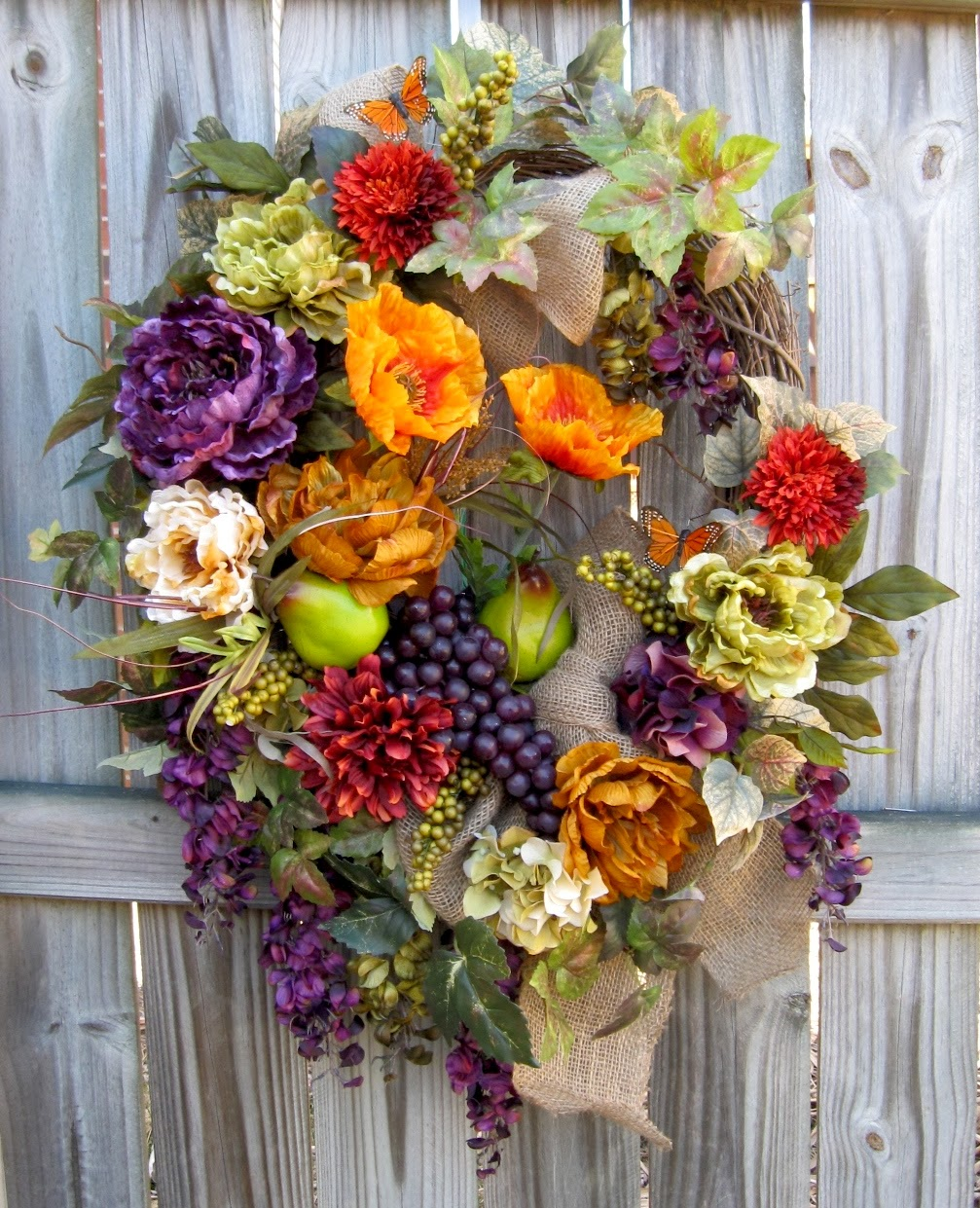 Tuscan Wisteria, Poppy, Peony Wreath, Grapes, fruit, Pears, Summer, Italian, burlap