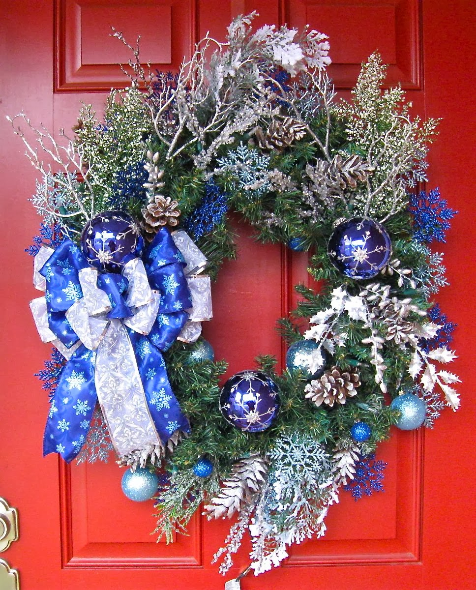 Custom Order Blue and Silver Woodland Christmas Pre-lit Wreath