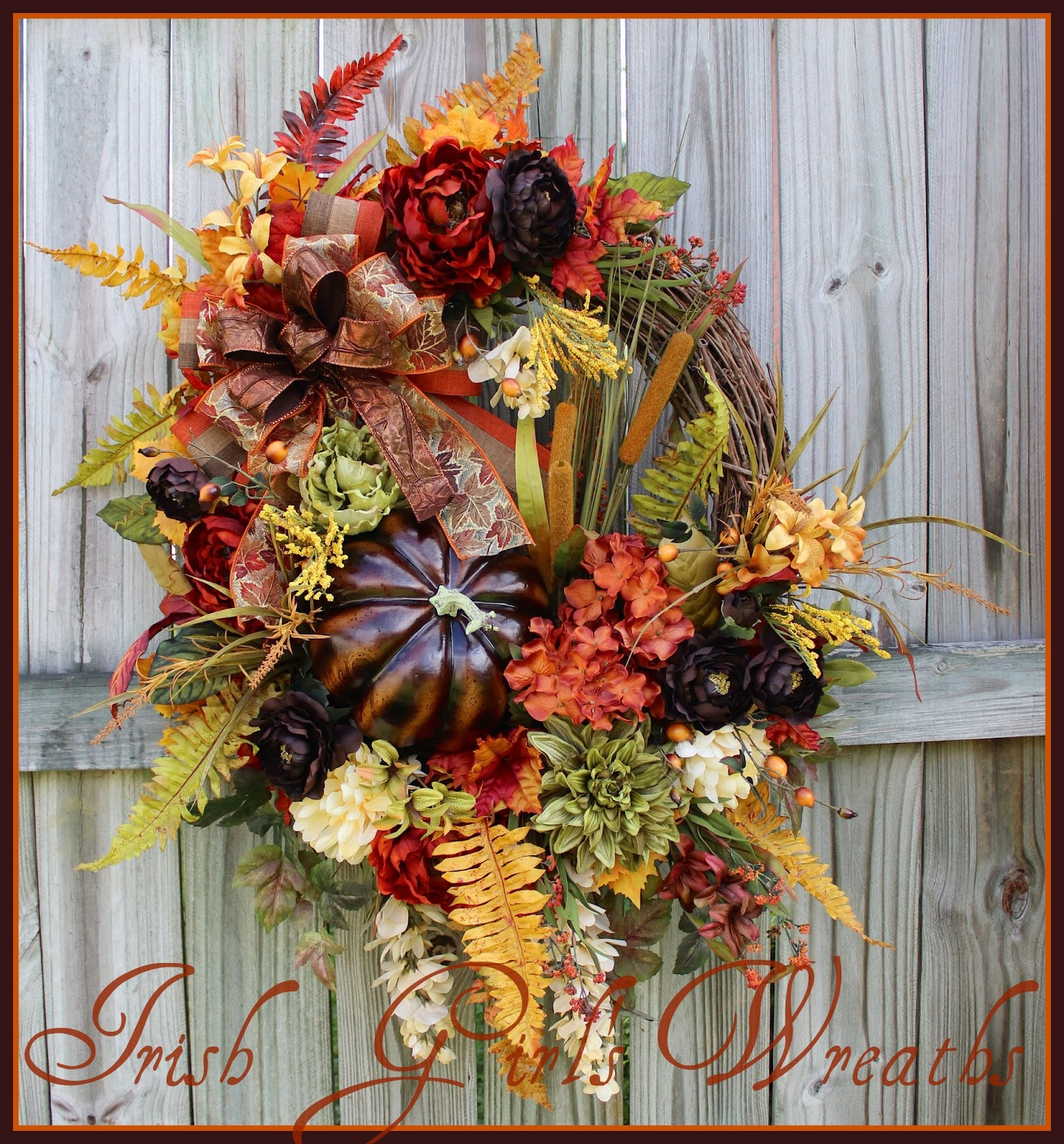 Rich Autumn Elegance XL Luxury Fall Wreath, Large, Dark Brown, Rust, Moss Green, Gold, Pumpkin, Rustic