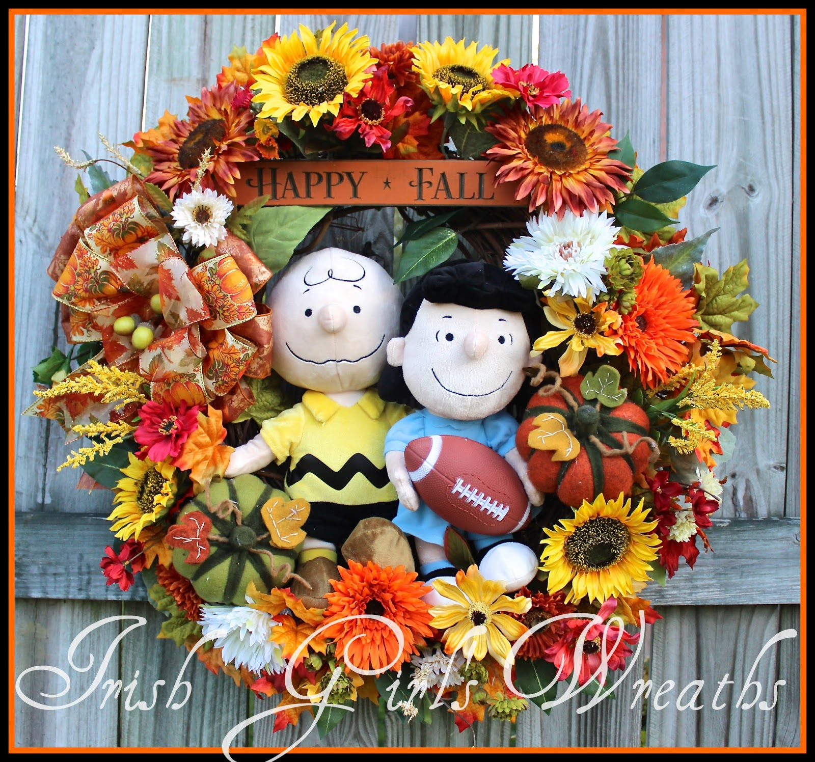 Charlie Brown & Lucy with Football Happy Fall Wreath, Peanuts Wreath, large, Sunflower, felt covered Pumpkins