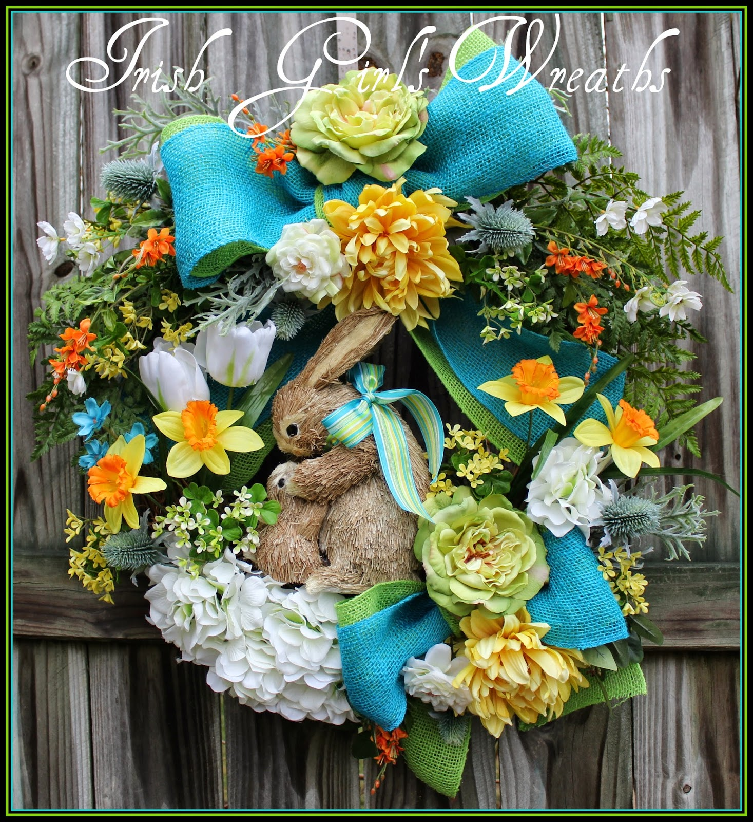Turquoise Yellow & Lime Mother and Baby Bunny Spring Wreath, Burlap, Rose, clover, Daffodil, Tulip, Easter, Nursery, sisal mama rabbits