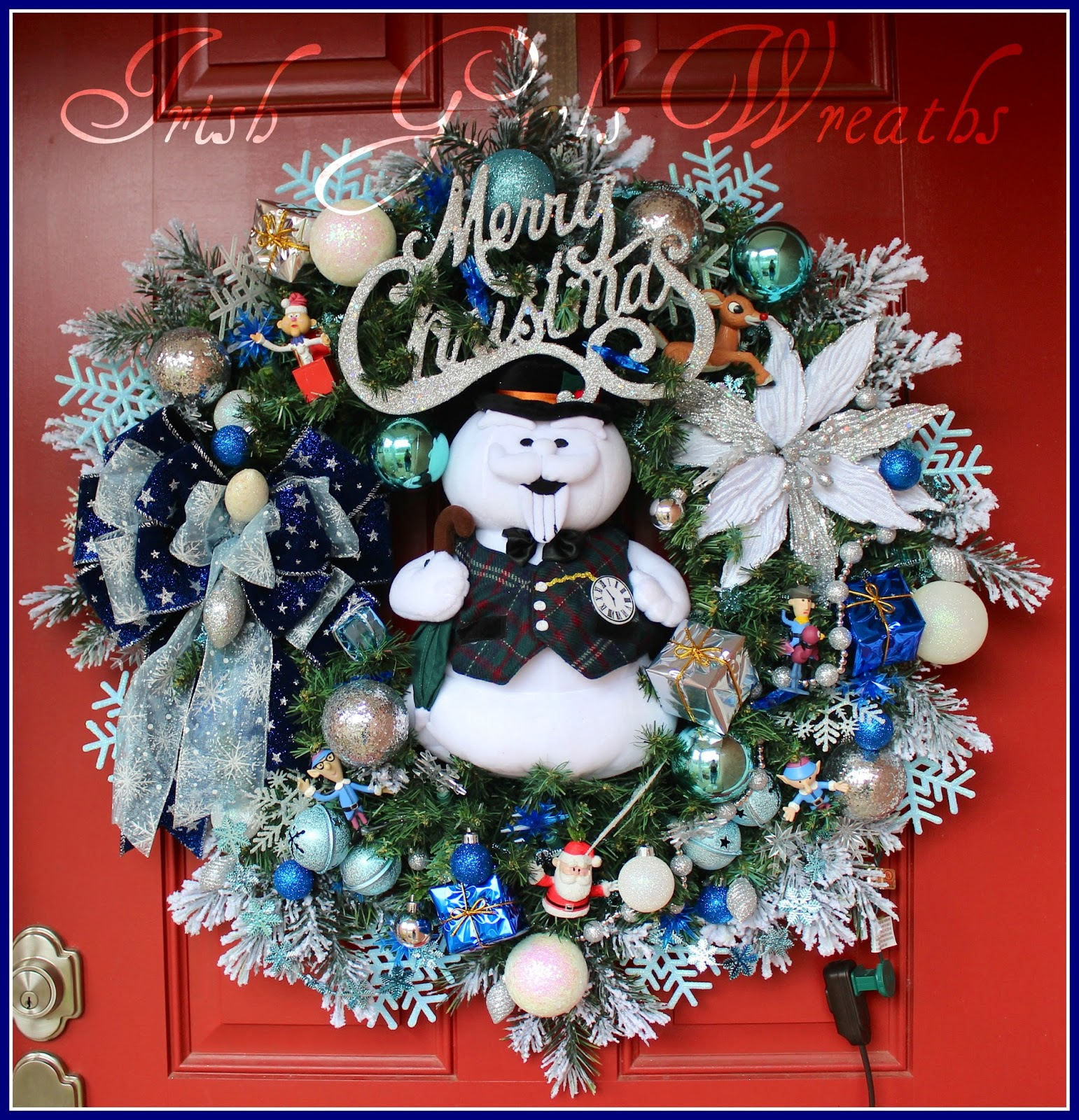 Pre-lit Sam the Snowman XL Christmas Wreath, Rudolph, Santa, Misfit Toys
