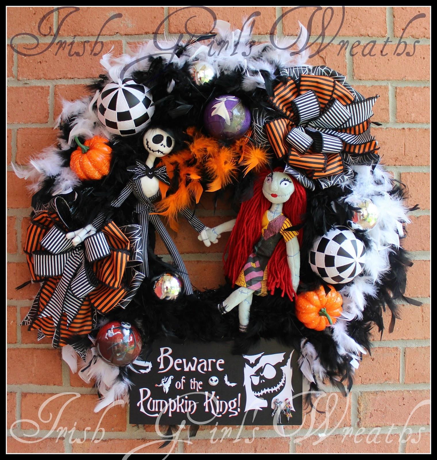 Pumpkin King Large Nightmare Halloween Wreath, Jack Skellington & Sally, Black, White, Boa, Zero, NBC, NBX, Xmas