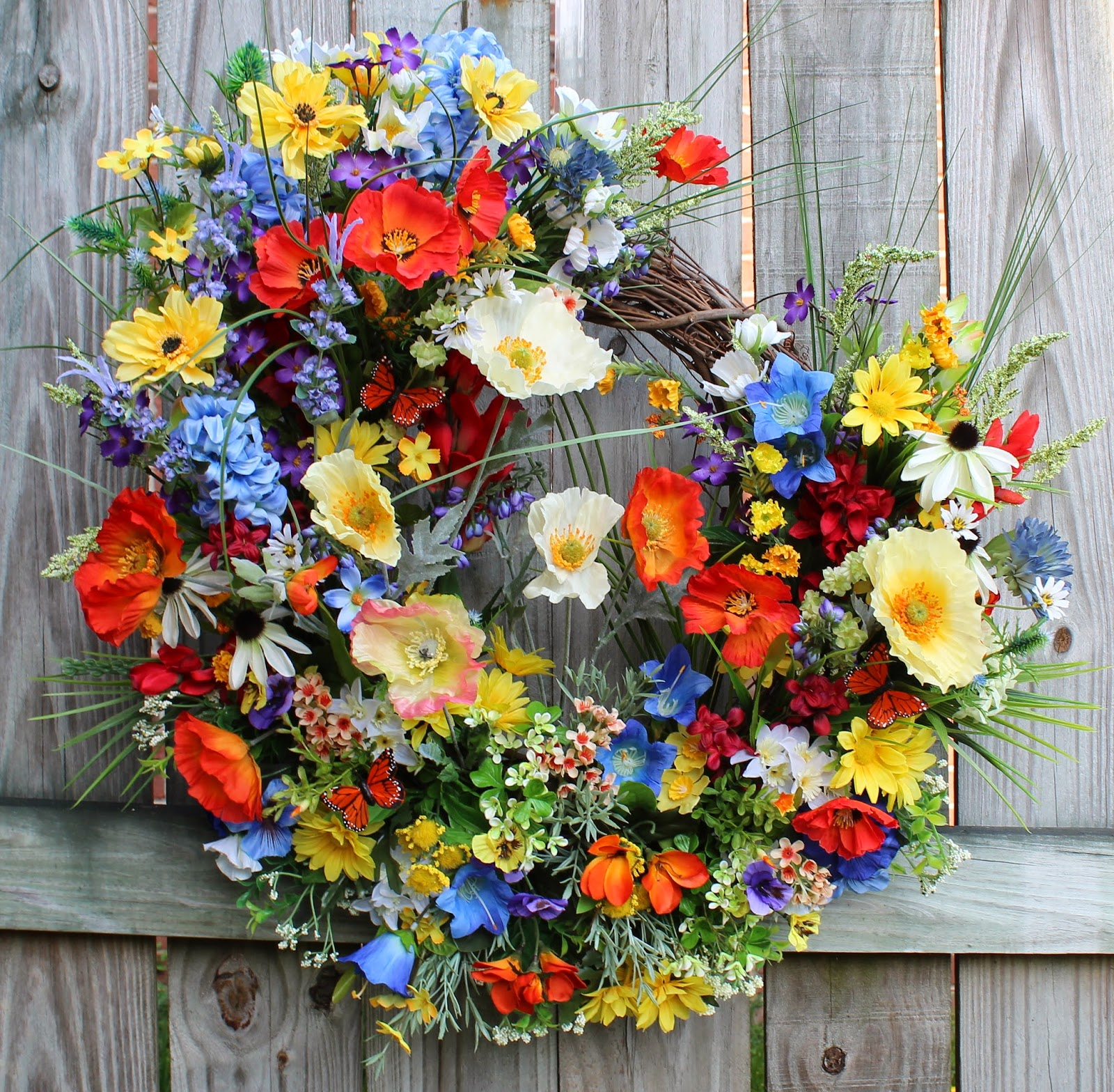 Mountain Wildflowers in Red/Blue/Orange/Yellow Poppy Wreath