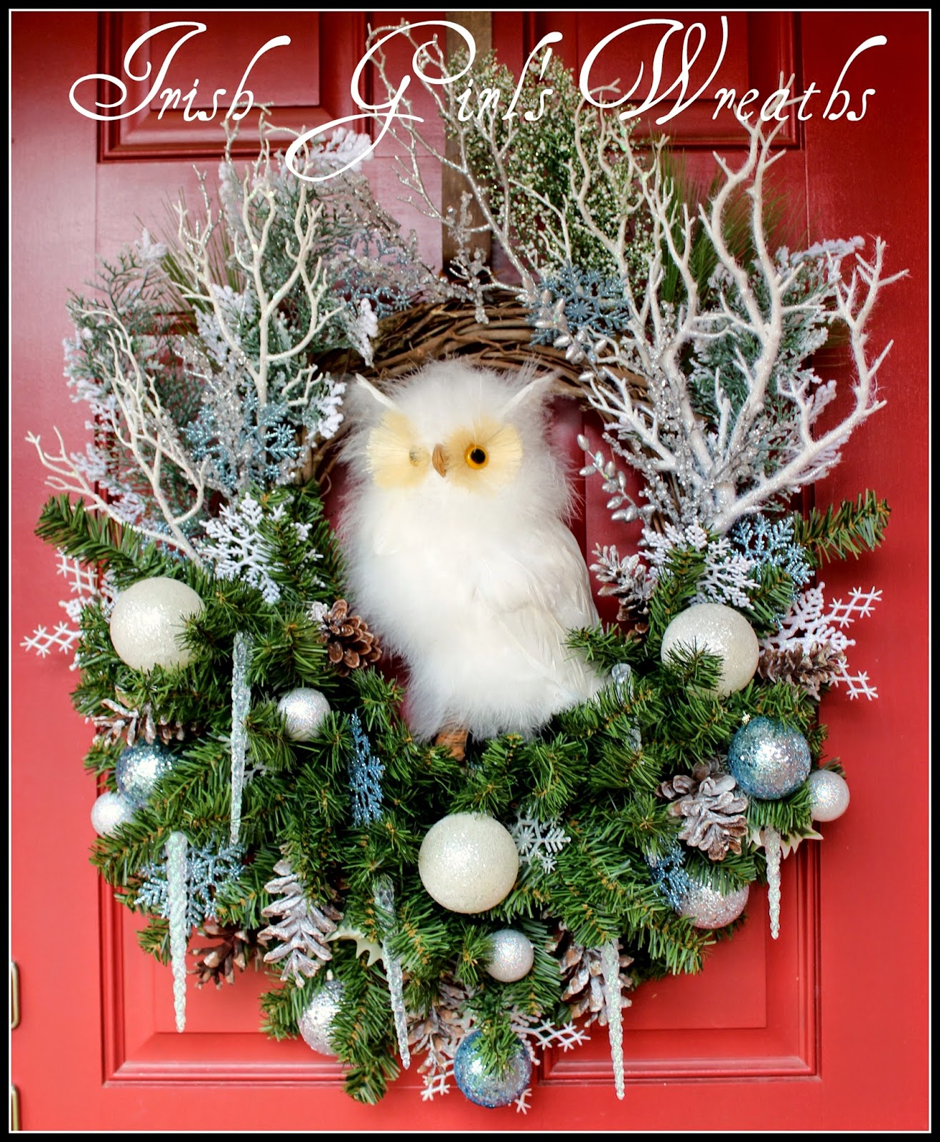 Large Winter Woodland Snow Owl Christmas Wreath