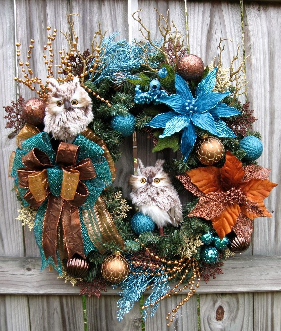 Teal, Copper and Brown Two Owl Christmas Wreath