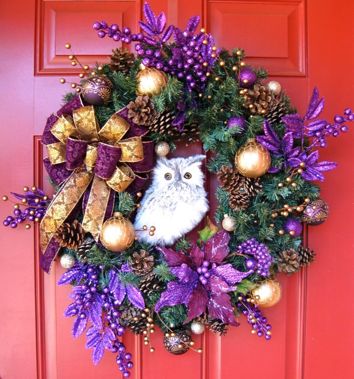Dark Purple and Antique Gold Owl Christmas Wreath