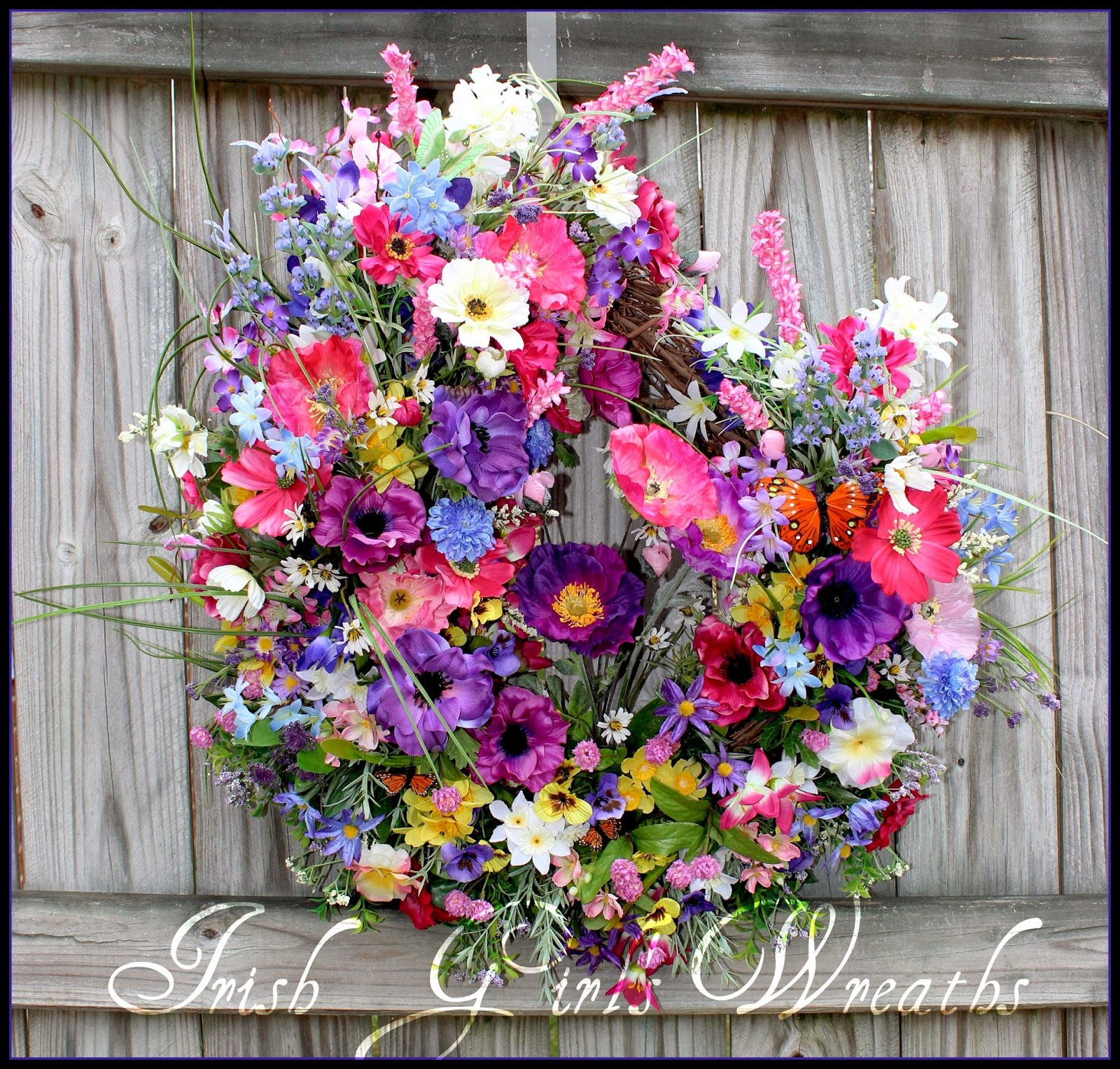 Pink and Purple Mountain Wildflowers and Poppies Wreath