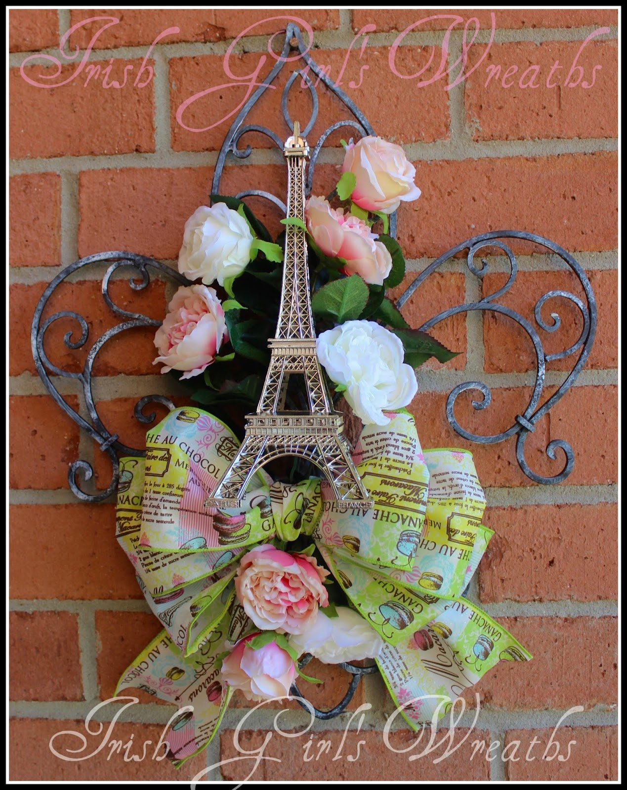 Paris France Fleur De Lis Wrought Iron Wall Door Hanging, Eiffel Tower, Macaroon, Pink and white roses