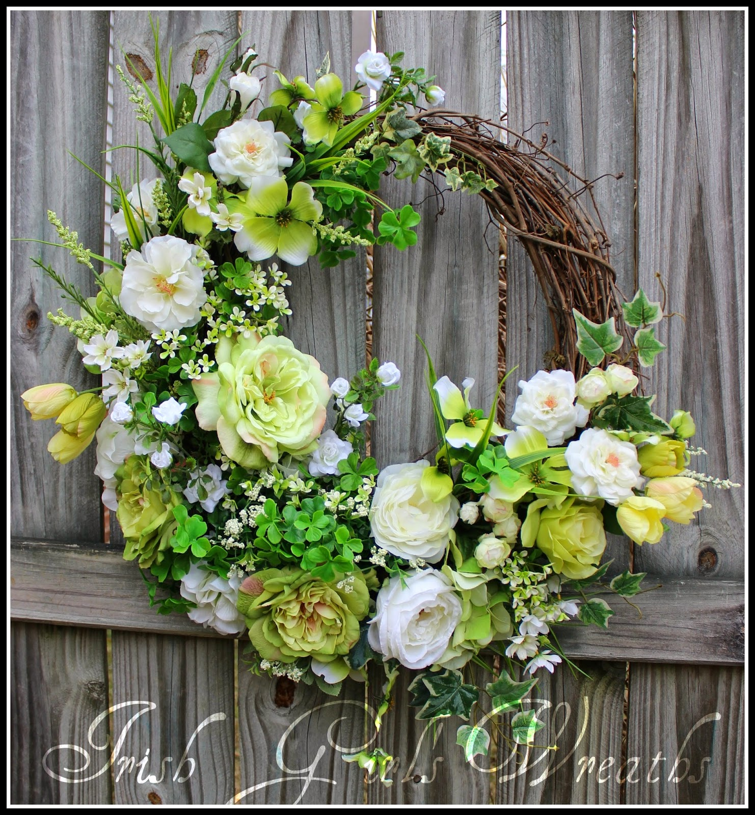 St Patricks Spring Rose Garden Wreath, large, green white, tulips, Dogwood, shamrocks, Cottage