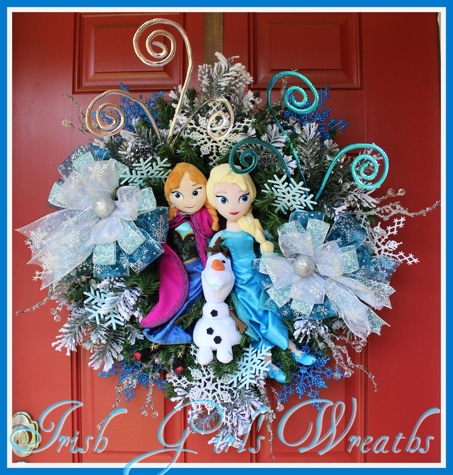 Deluxe FROZEN Anna Elsa and Olaf Winter Wonderland Wreath, Custom Order