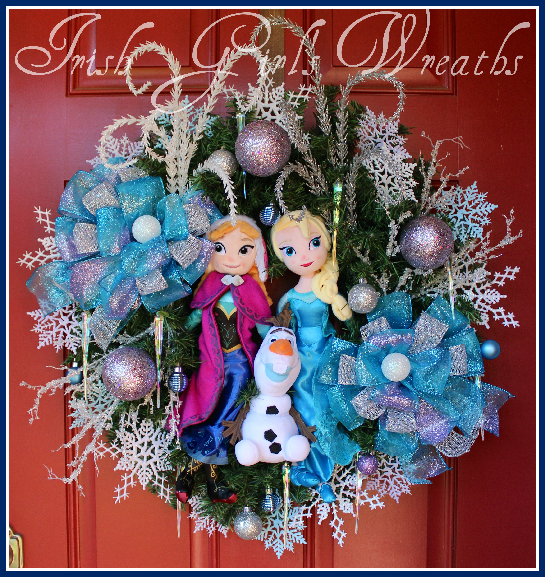 Frozen Wreath, Elsa Anna Olaf, Princess, Winter Wreath, Snowman, Lavender, Blue, Snow, girls room, girl wreath