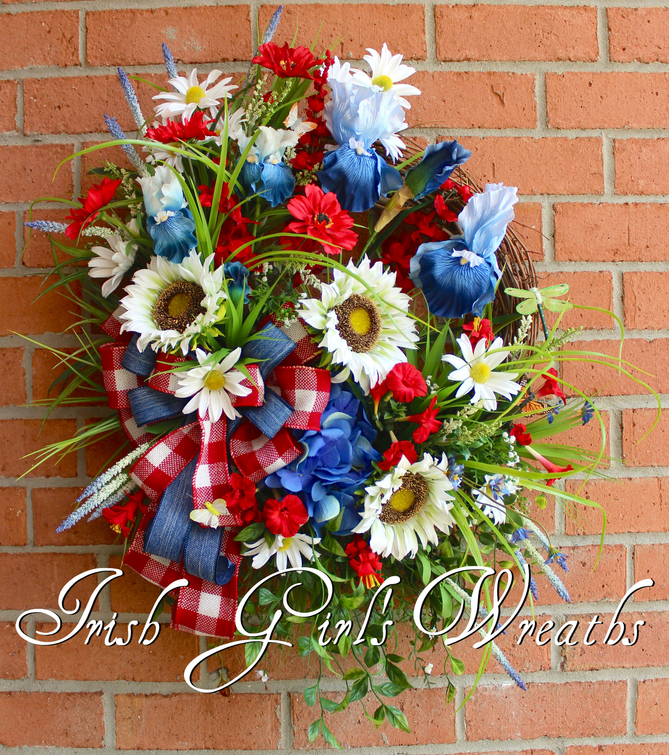 Large Patriotic American Summer Wildflower Garden Wreath, Daisy, Iris, Rustic Sunflower Red White Blue Wreath