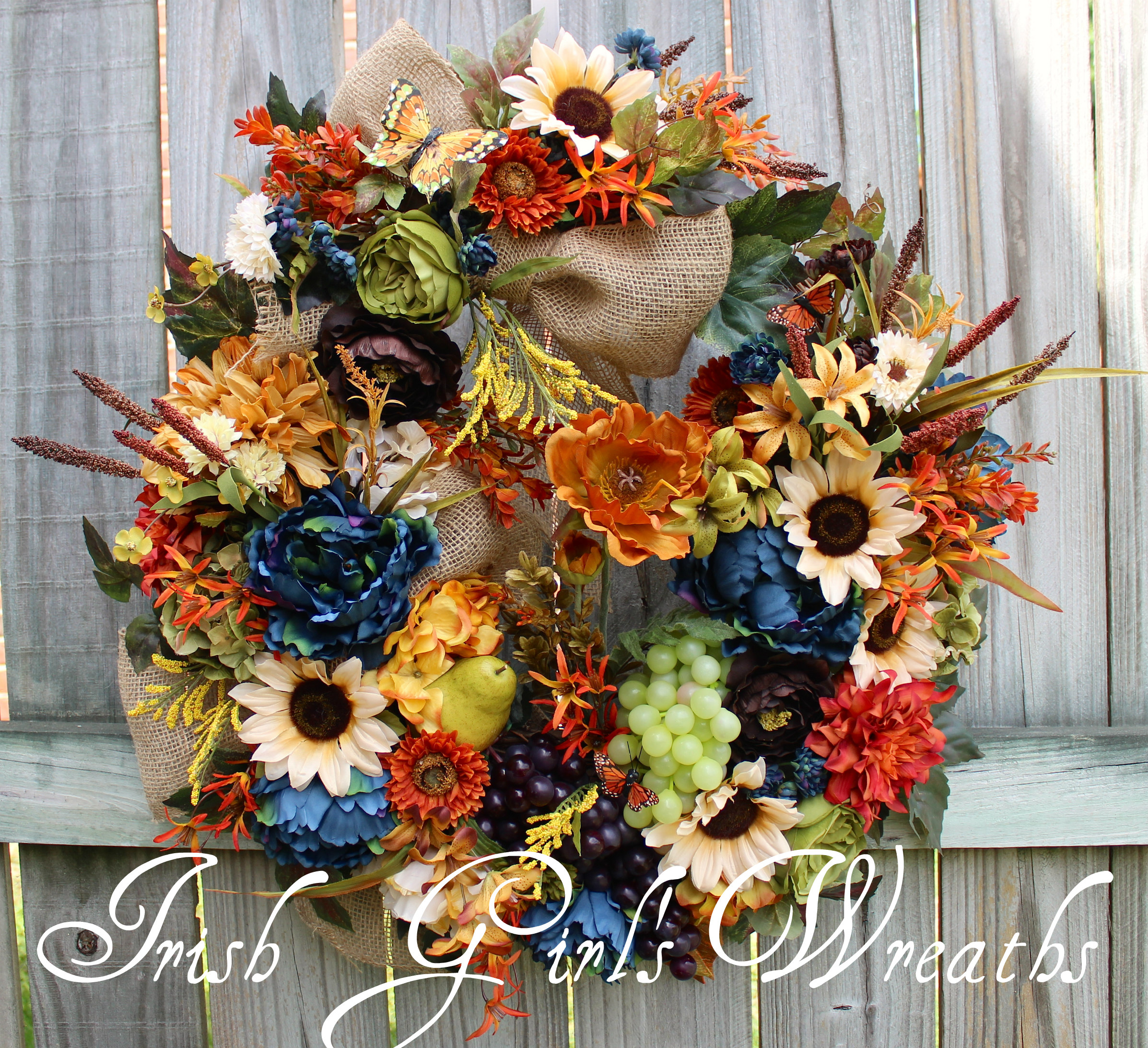 Deluxe Tuscan Splendor in Blue, Brown, Rust and Cream Wreath, Tuscan-French Country Wreath