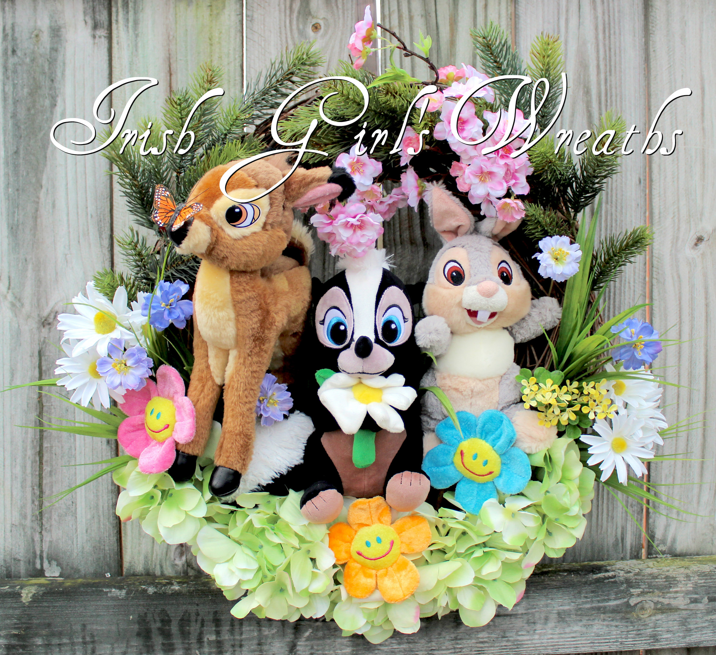Bambi and Friends Springtime Wreath, Disney Bambi Thumper and Flower the Skunk Nursery Wreath