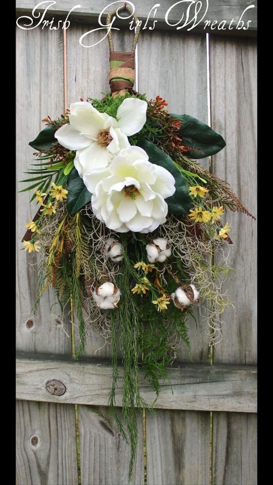 Rustic Bayou Magnolia Floral Swag Wreath