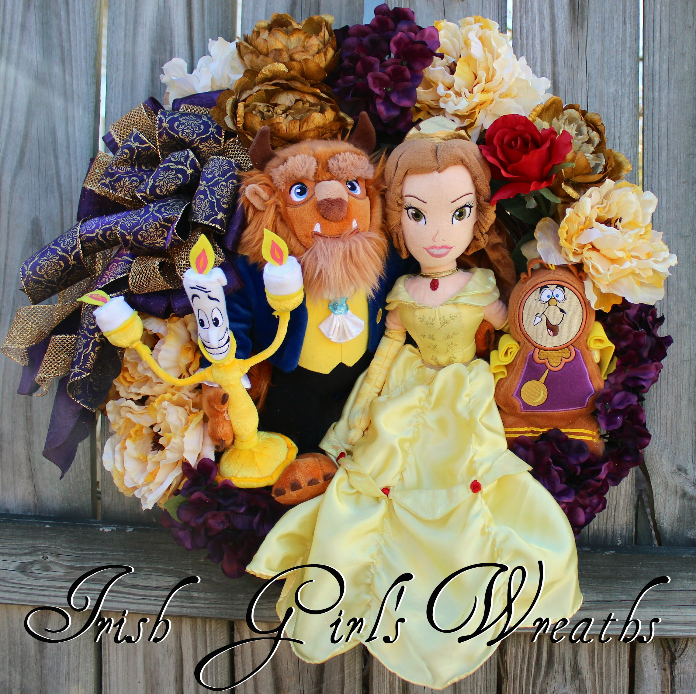 Deluxe Beauty and the Beast Wreath, Disney, Lumiere, Cogsworth -ONE of a Kind