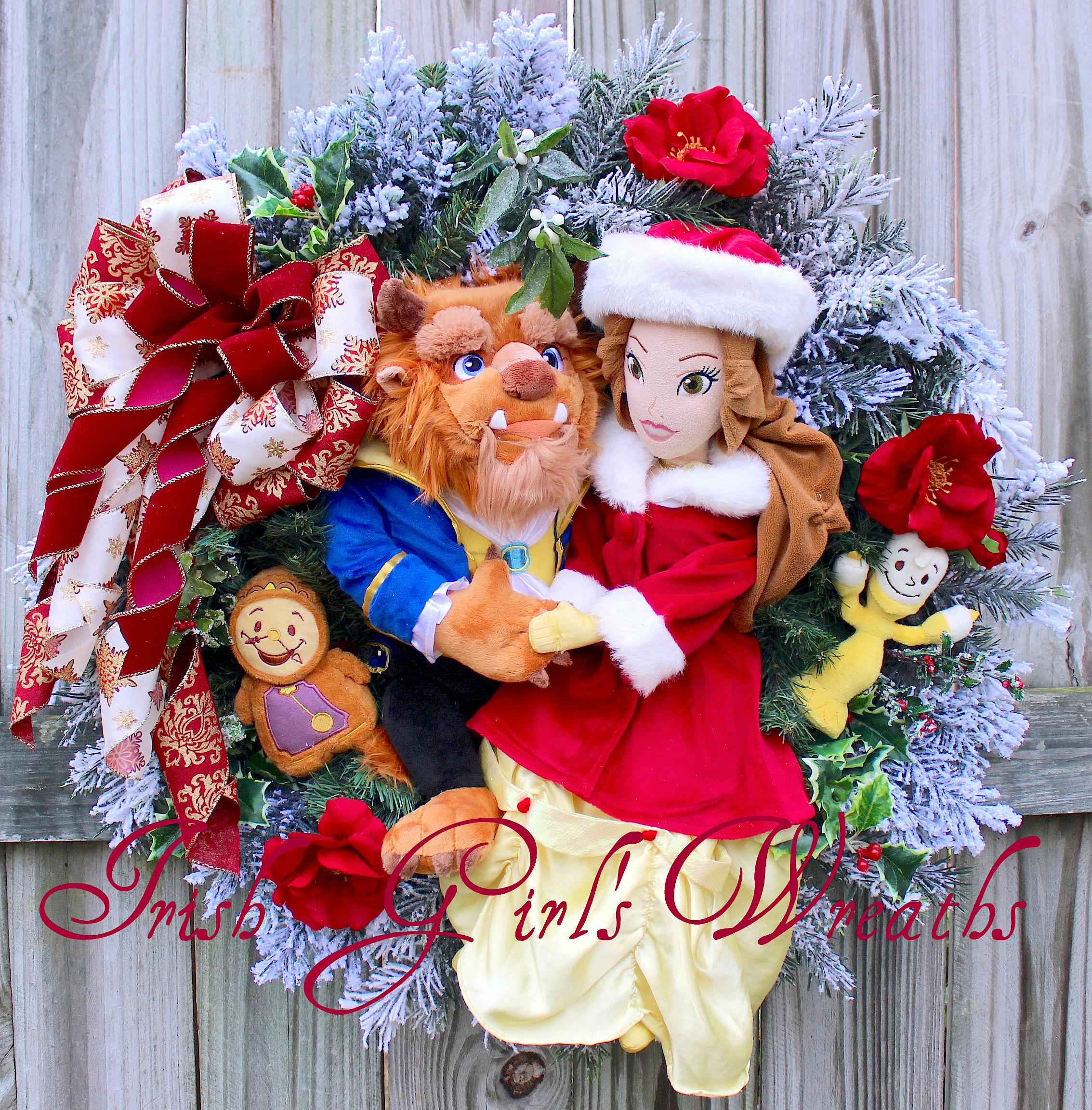 Beauty and the Beast Christmas Wreath, 1 of a Kind Custom for Jordynne