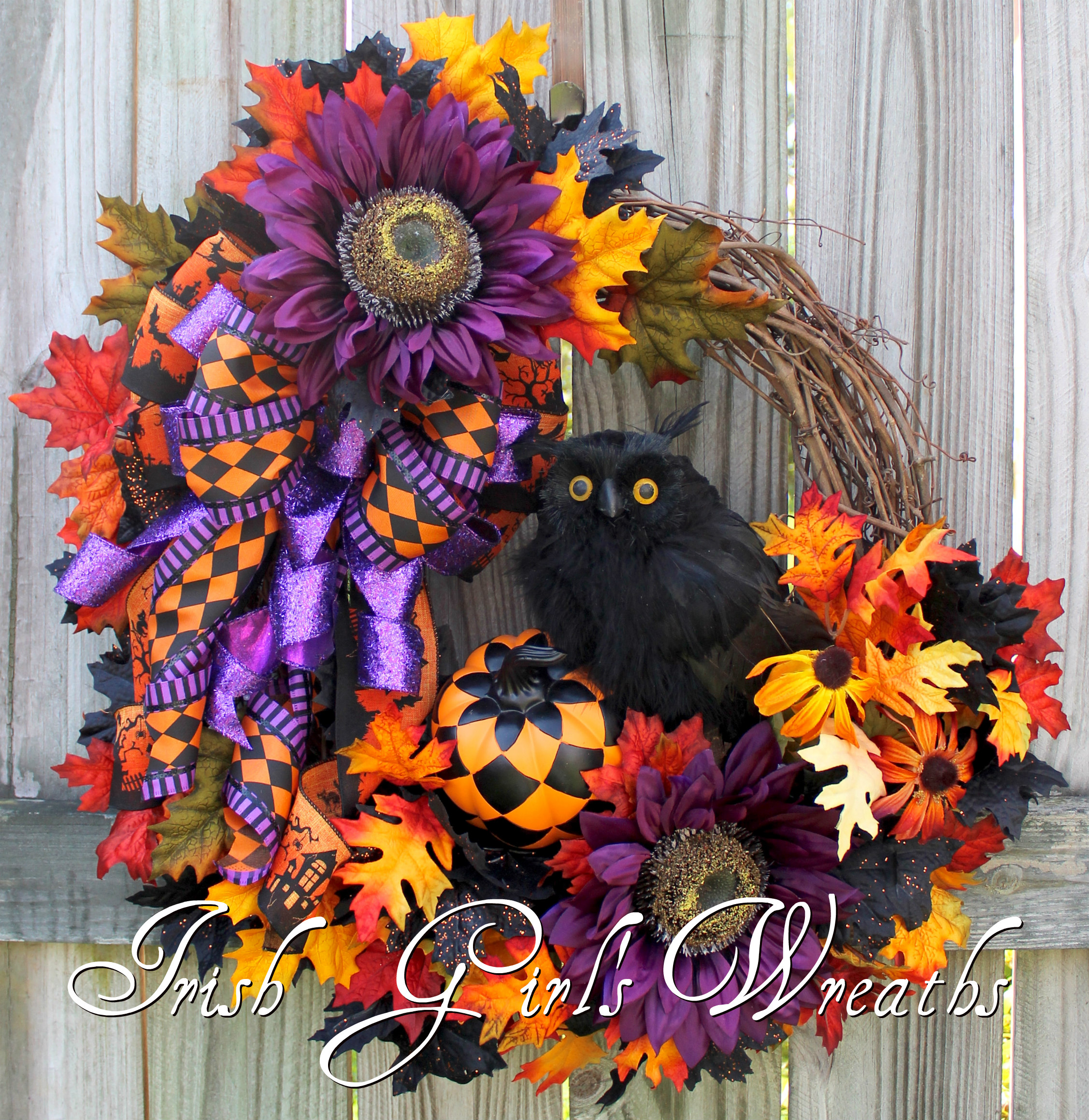Black Owl Harlequin Halloween Floral Wreath, Purple Sunflower, Harlequin Pumpkin