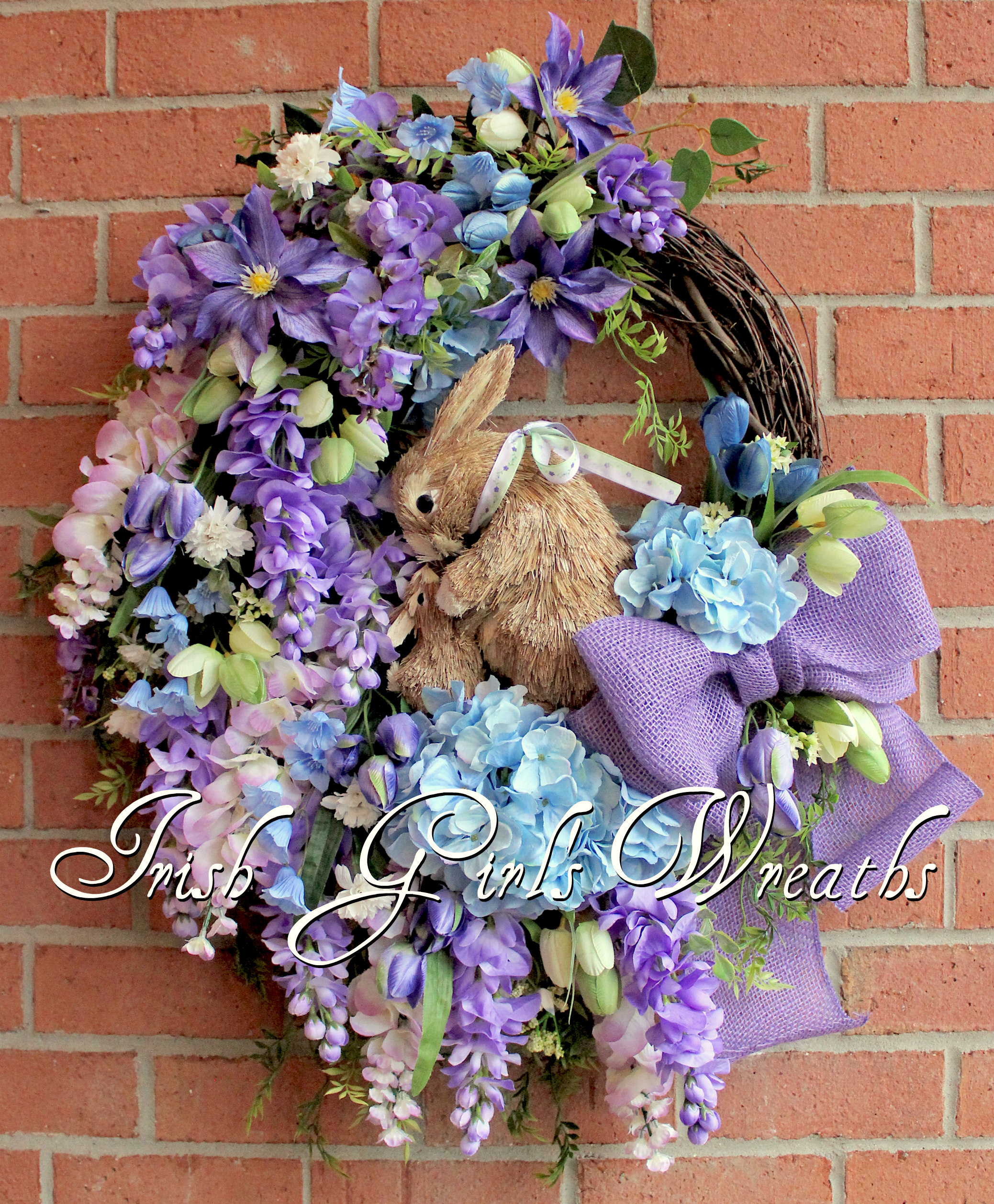 Spring Purple & Blue Wisteria Bunny Rabbit Wreath, Easter Floral Wreath