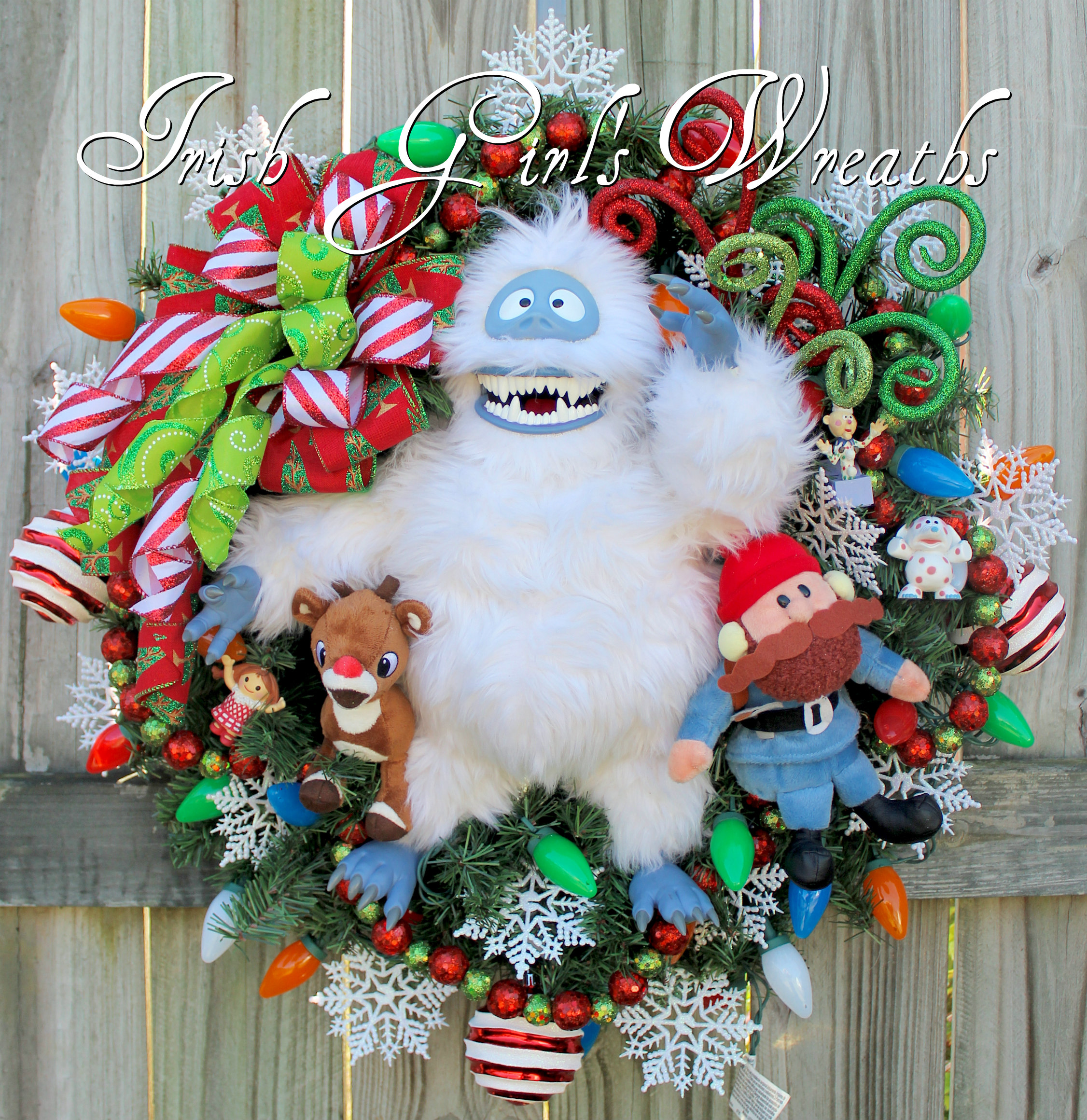 Bumble Snowmonster and Yukon Cornelius Christmas Wreath, PreLit, Rudolph, Abominable, Misfit Toys Spotted Elephant, RagDoll, Charlie in Box