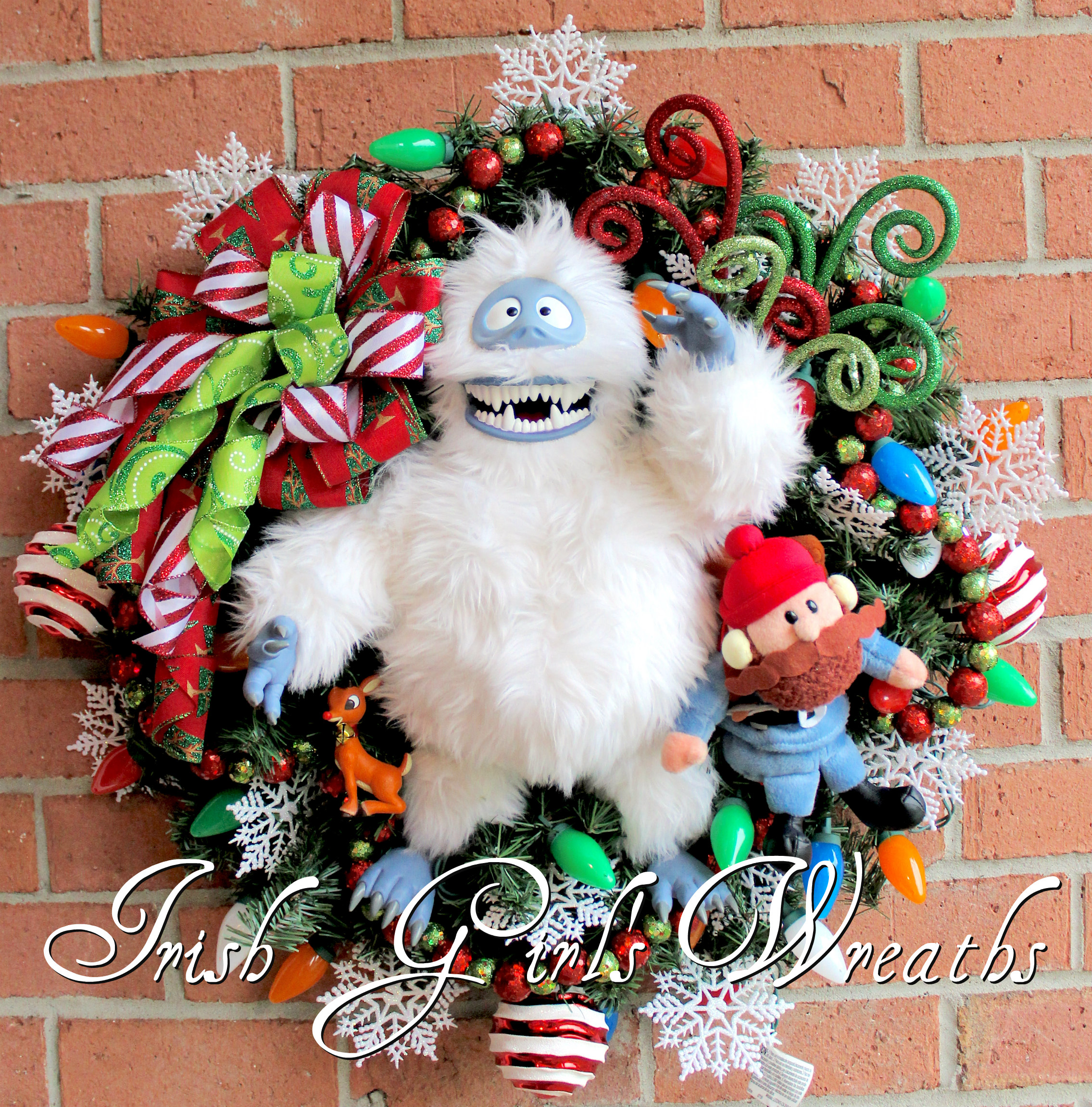 Bumble SnowMonster and Yukon Cornelius Christmas Wreath, PreLit, Rudolph Abominable Snow