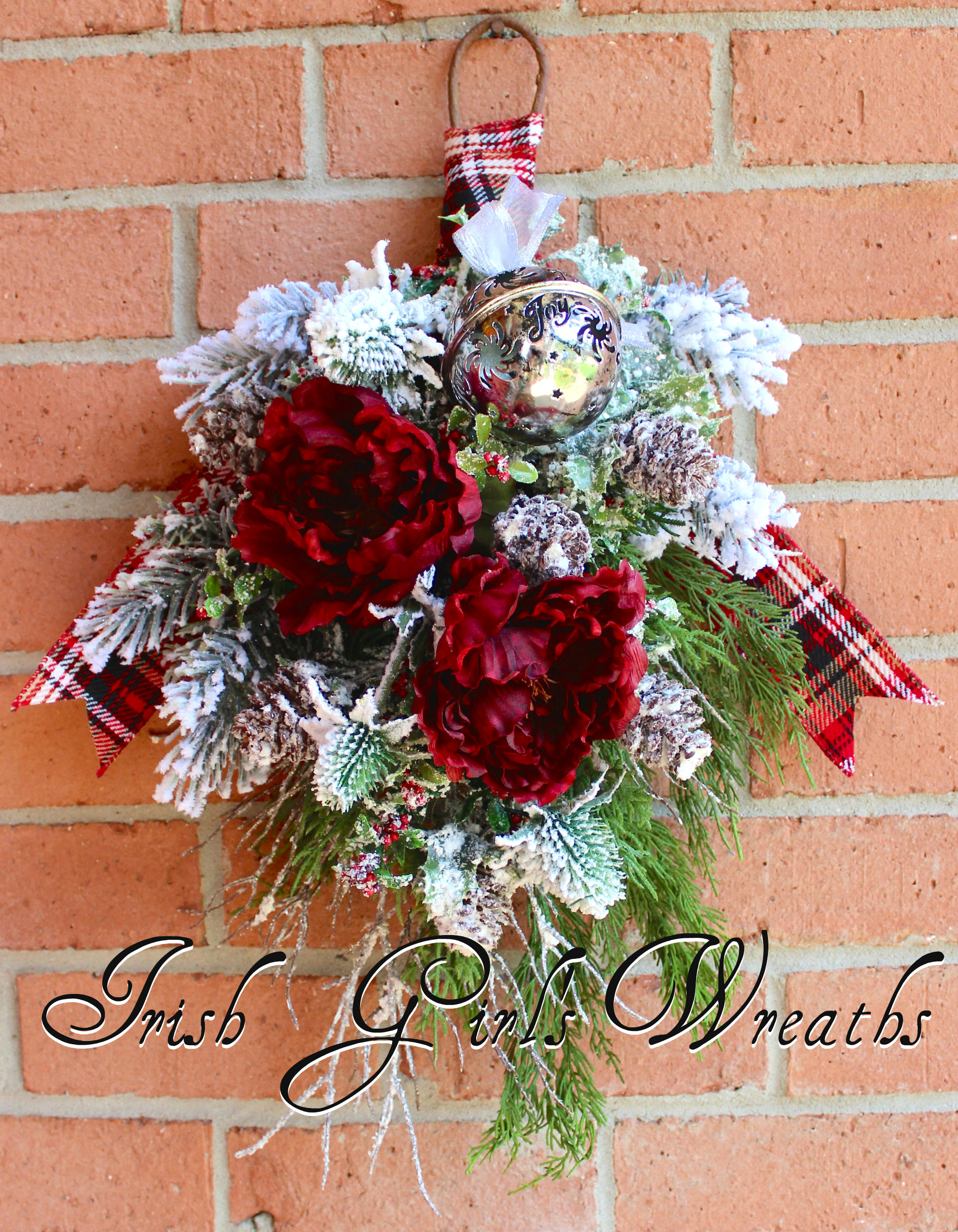 Rustic Winter Burgundy Floral Swag Wreath, Snowy Pine Woodland Christmas Floral Swag, Sleigh Bell