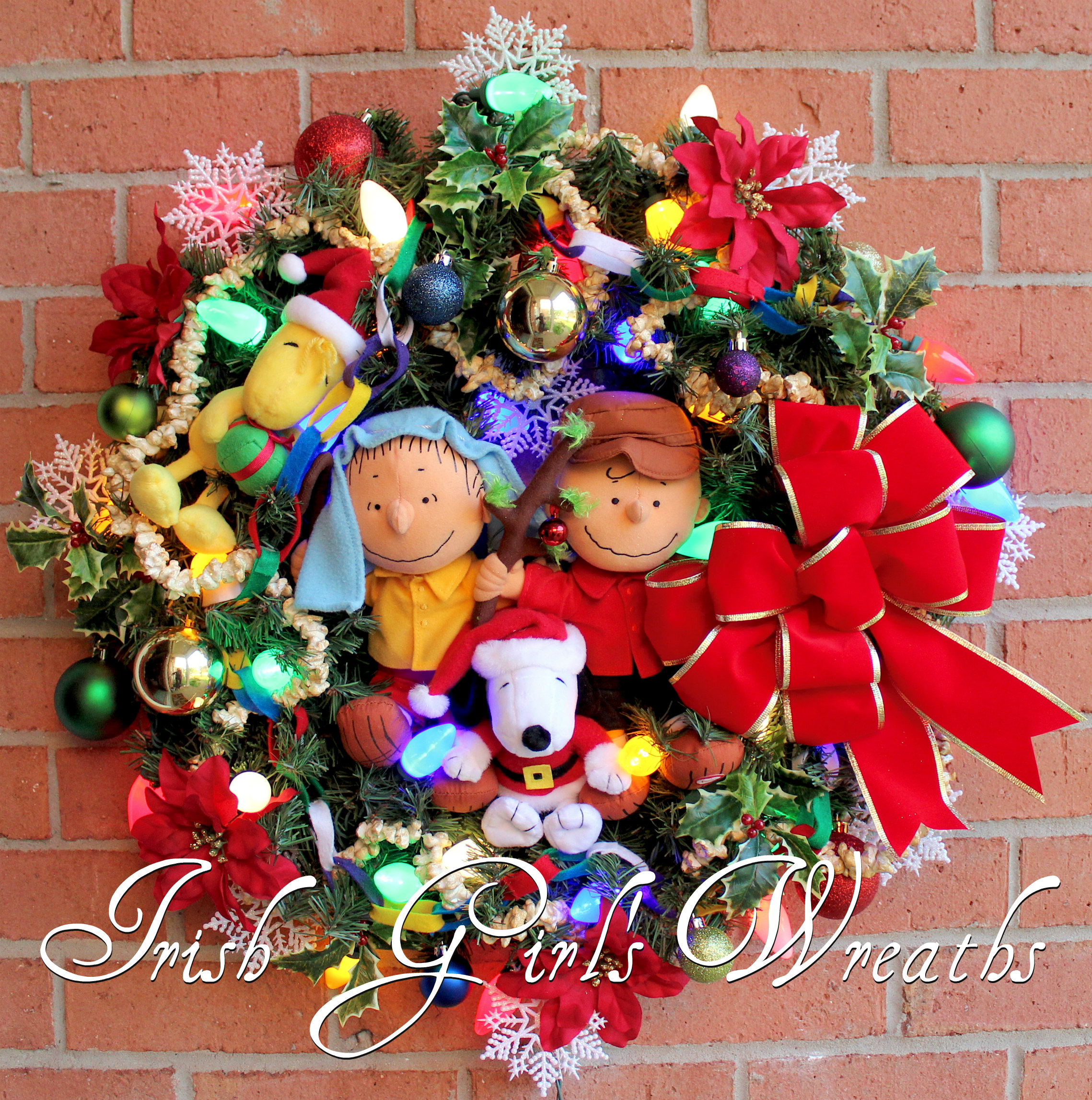 Merry Christmas Charlie Brown Peanuts Gang Wreath, for Cayla