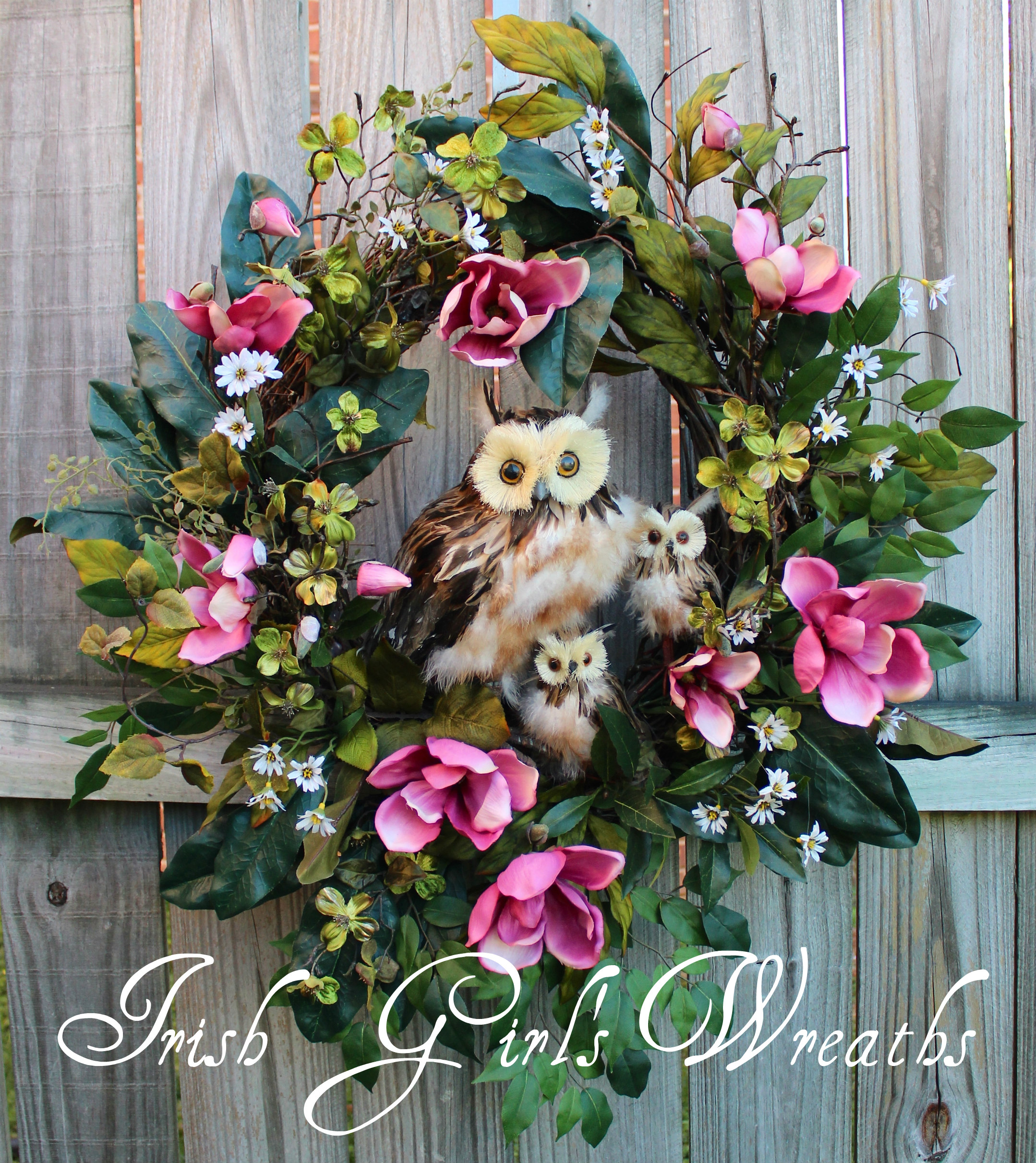 Jane Magnolia Spring Family Owl Wreath, Custom for Carol