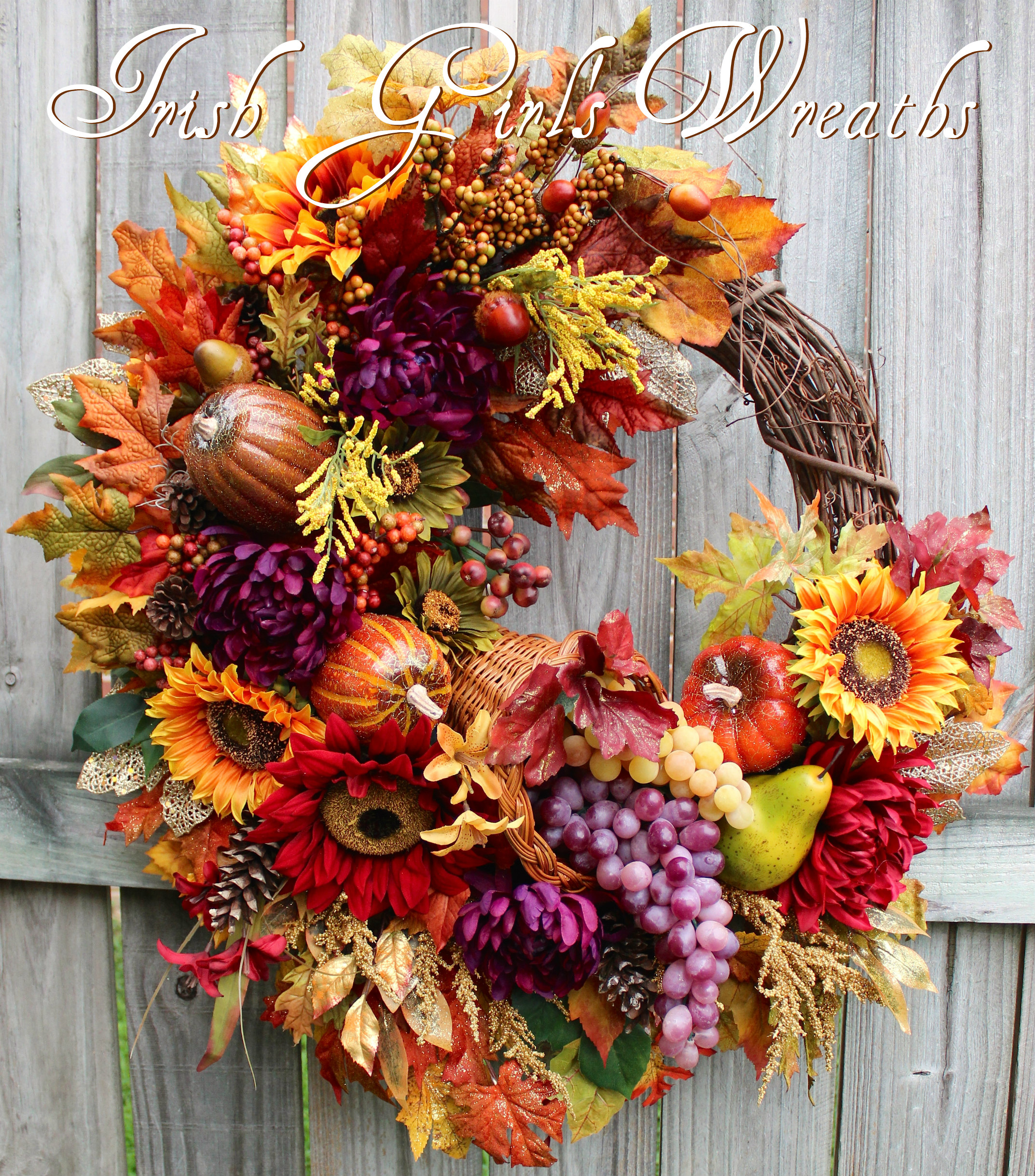 Deluxe Elegant Harvest Cornucopia Wreath, Custom Order for Cassandra
