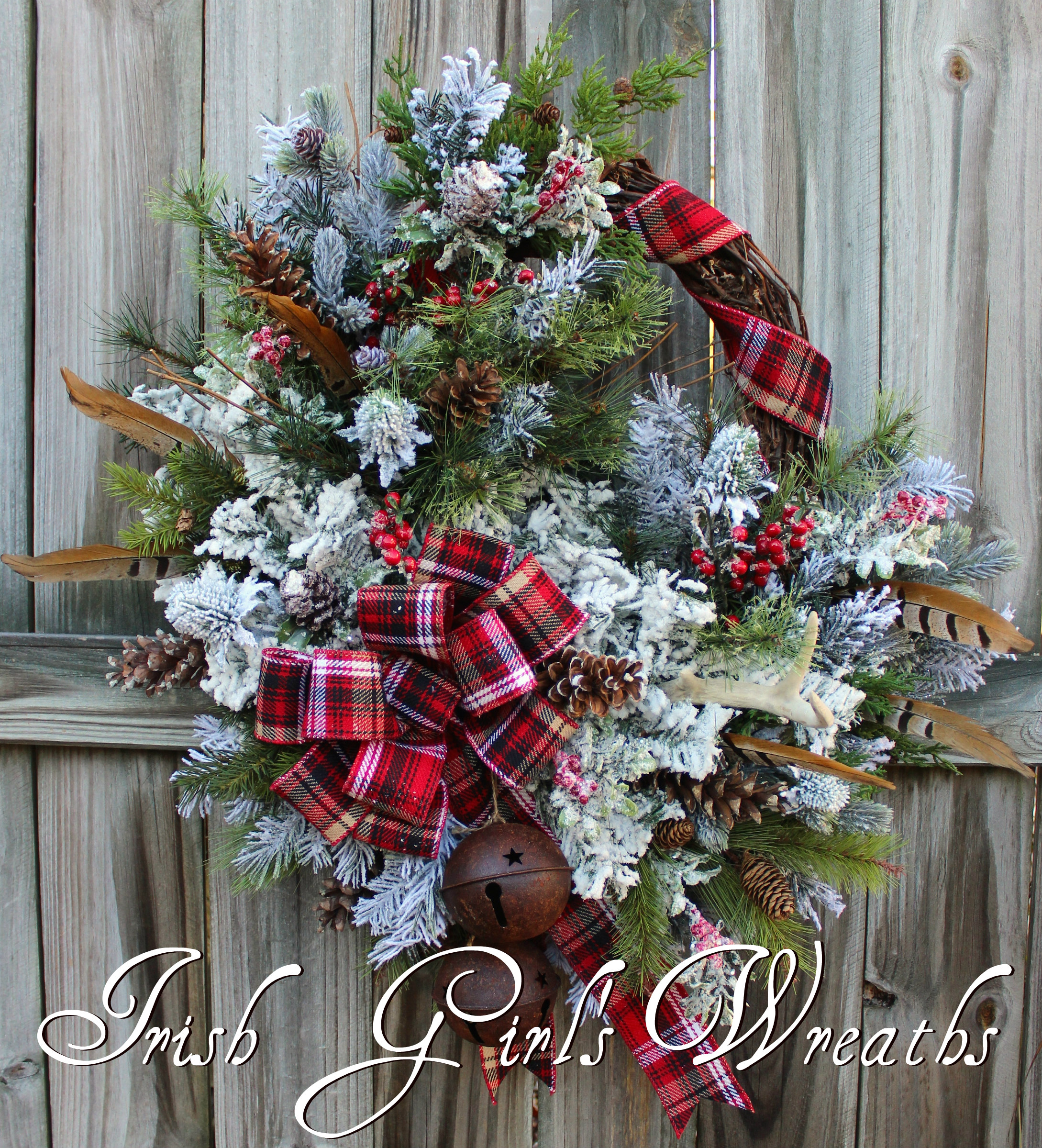 Celtic Scottish Highland Christmas Wreath #2, XL Rustic Tartan Woodland Winter Lodge Wreath