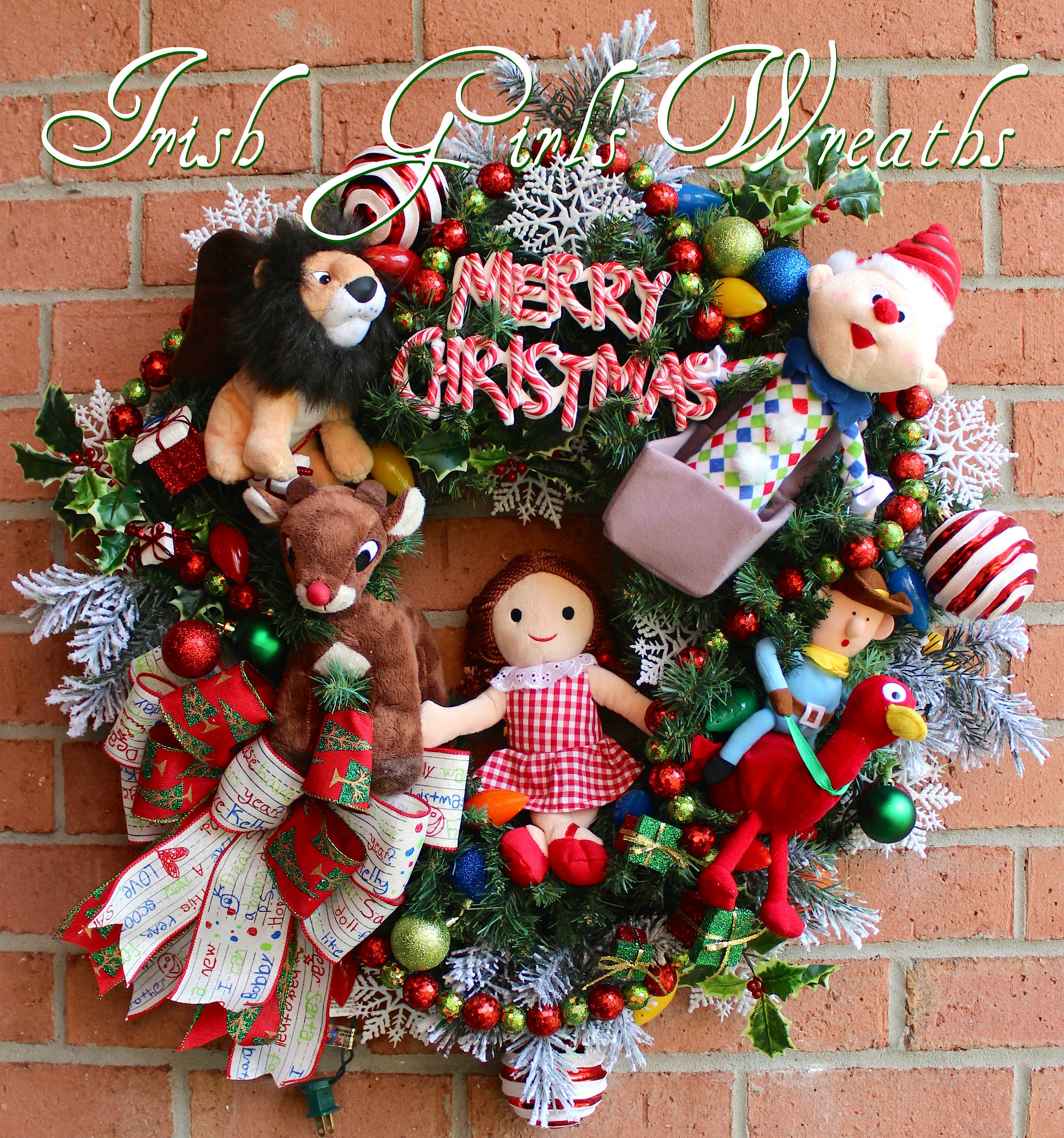 MADE To ORDER Deluxe Island of Misfit Toys Christmas Wreath, LAST 1, Rudolph, Moonracer, Cowboy, Charlie, Ragdoll, lit