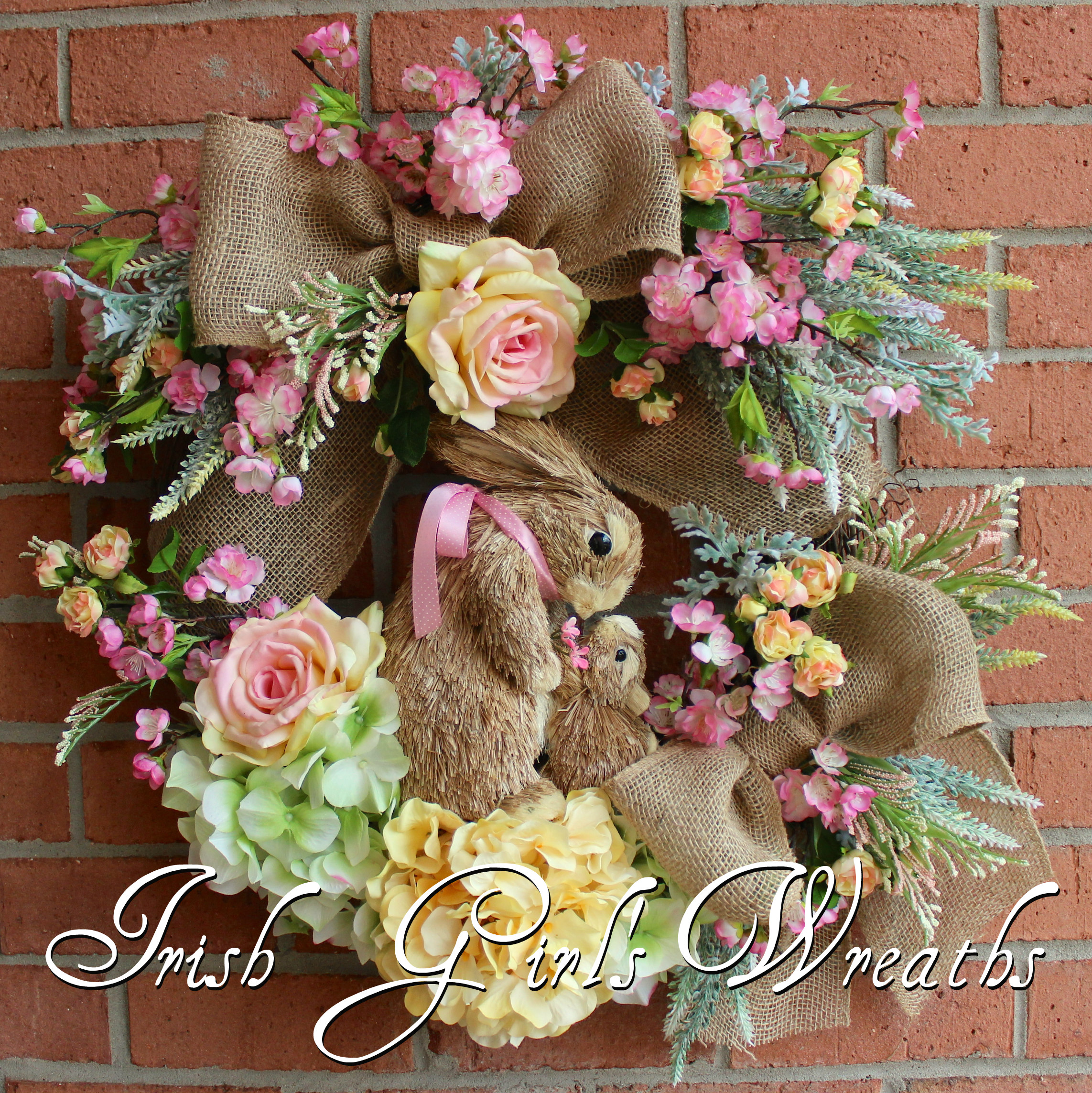 Pink & Yellow Spring Bunny Rabbits Wreath, Easter Floral Wreath
