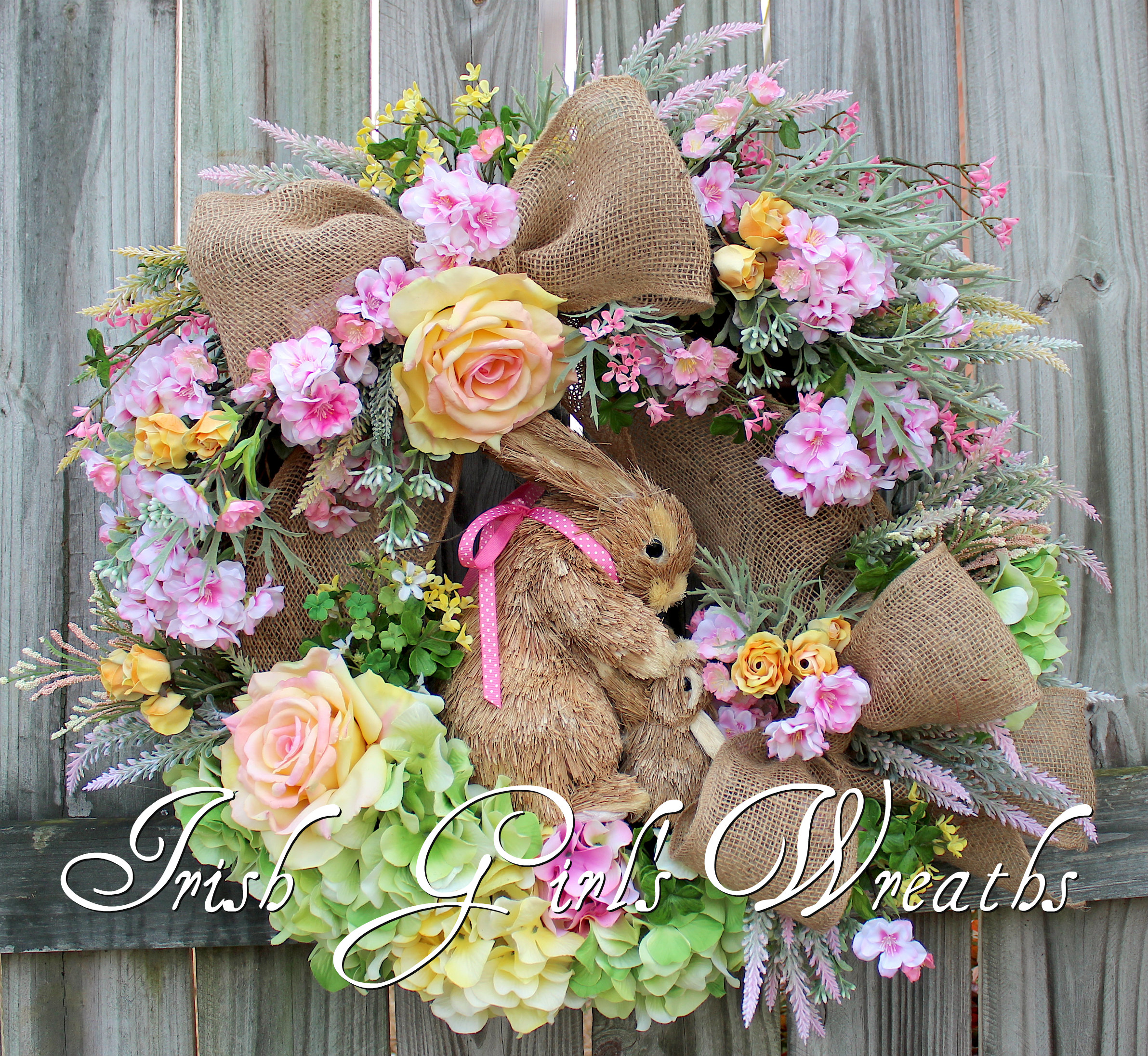 Pink & Yellow Cherry Blossom Rose Spring Bunny Rabbits Wreath, Nursery, Easter Floral Wreath