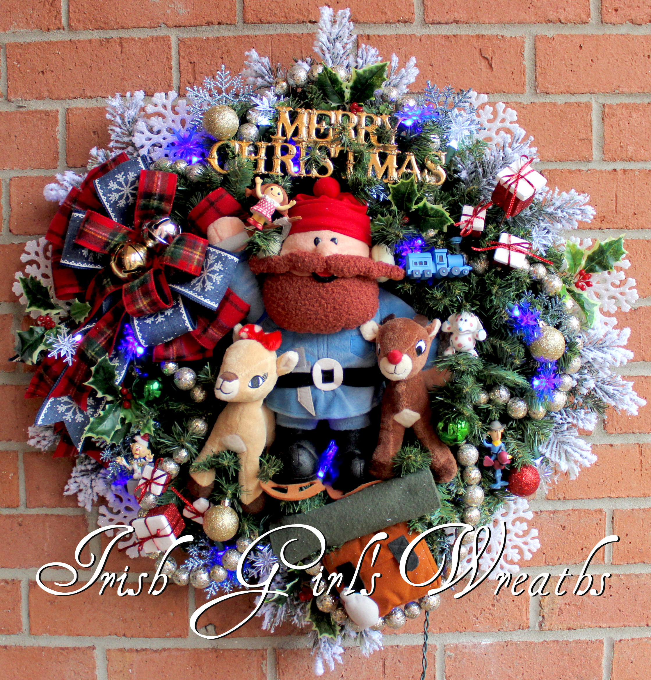Custom order Yukon Cornelius with Rudolph and Clarice Christmas Wreath with snowflake lights, for Christine