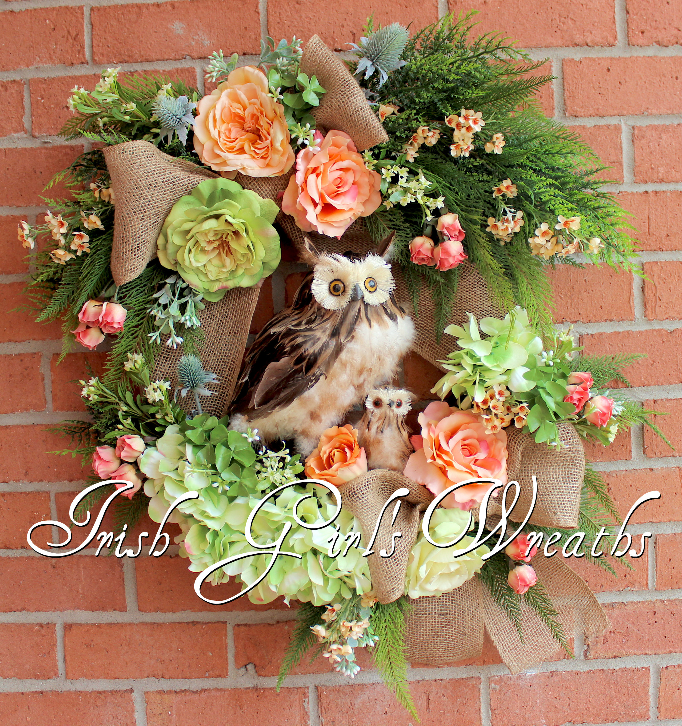 Spring Mother and Baby Owl Peach Floral Wreath, Custom for Claire