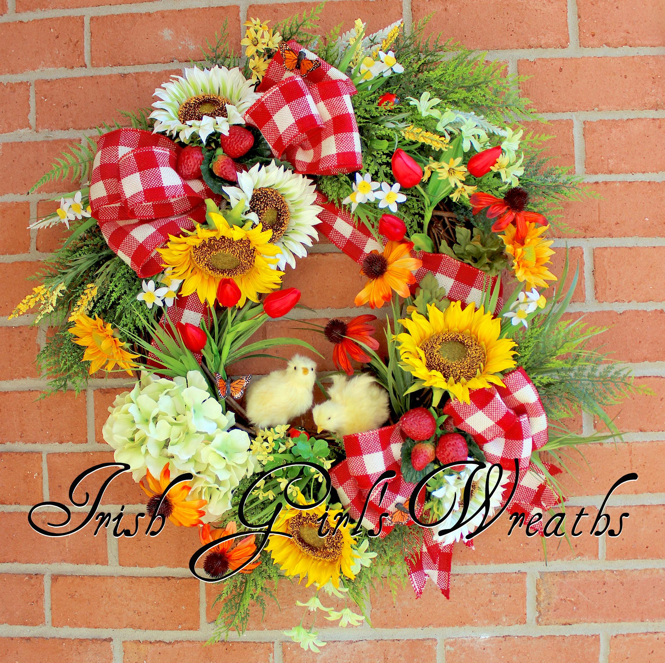 Springtime Chicks on the Farm Wreath- Custom for CLAIRE
