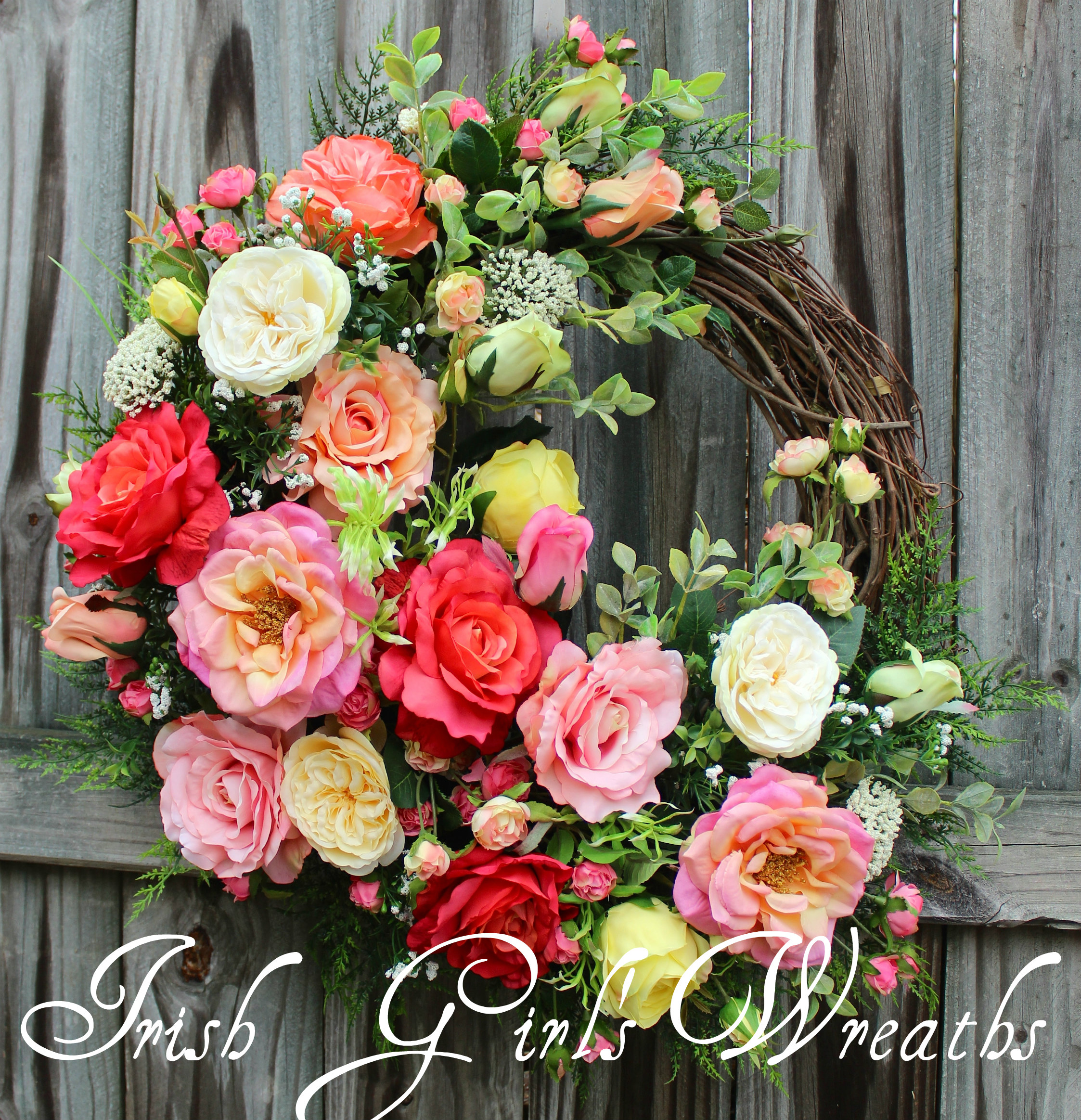 Coral Pink Spring Rose Cottage Garden Wreath