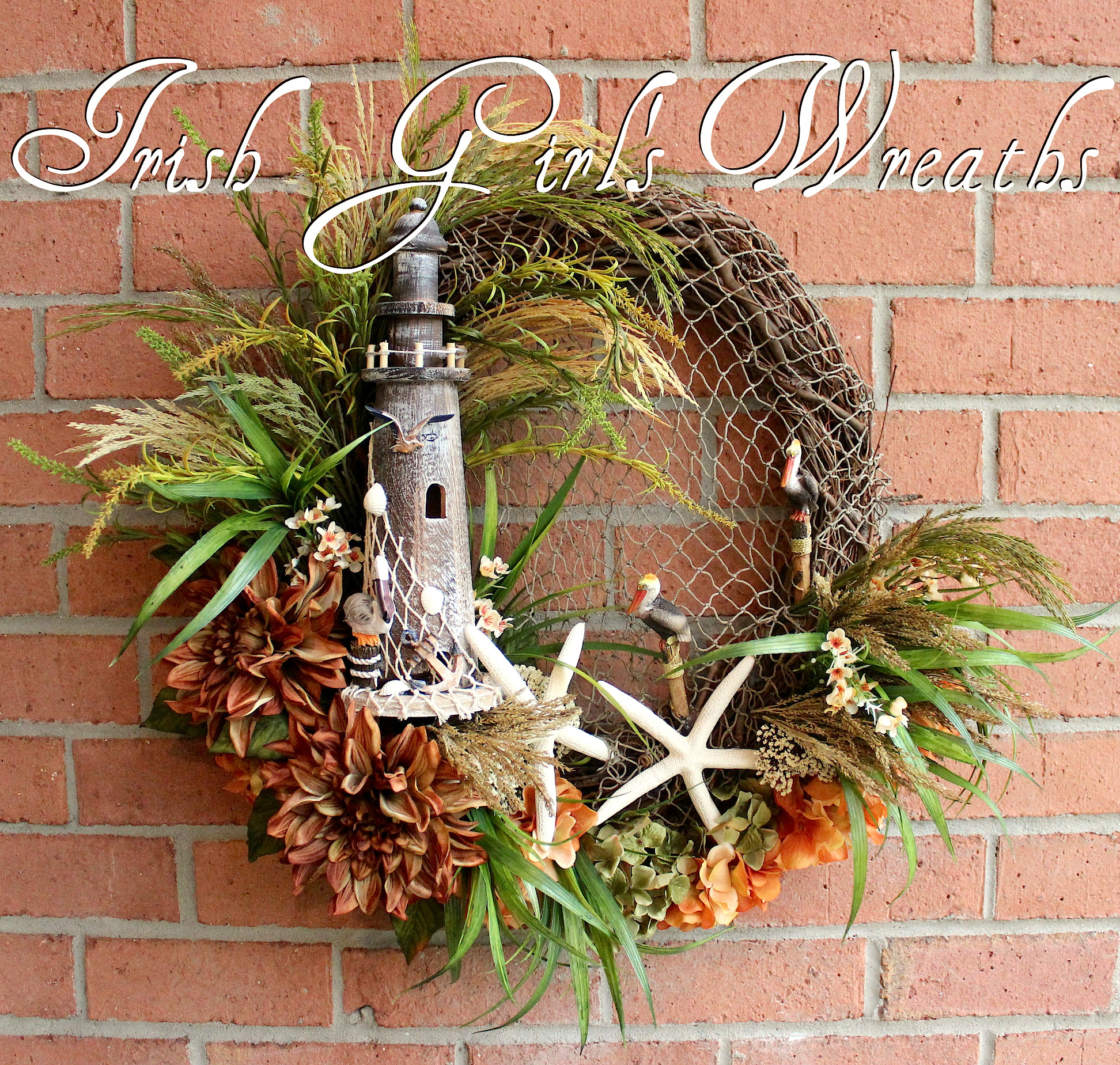 Summer Lighthouse and Starfish Coastal Landscape Wreath, Rustic Nautical Decor