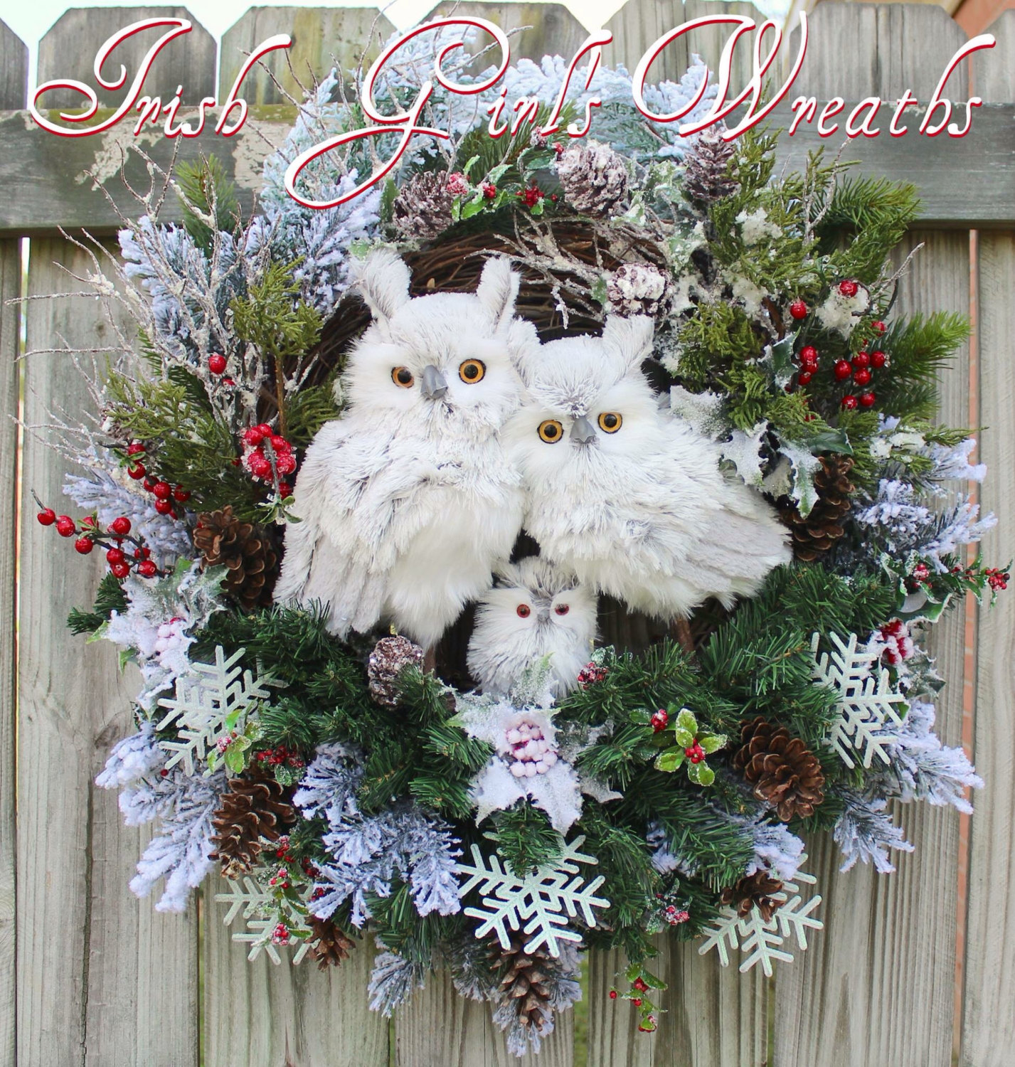 MADE TO ORDER- Rustic Woodland Winter Owl Family Wreath, large Winter Floral Owl Christmas Wreath