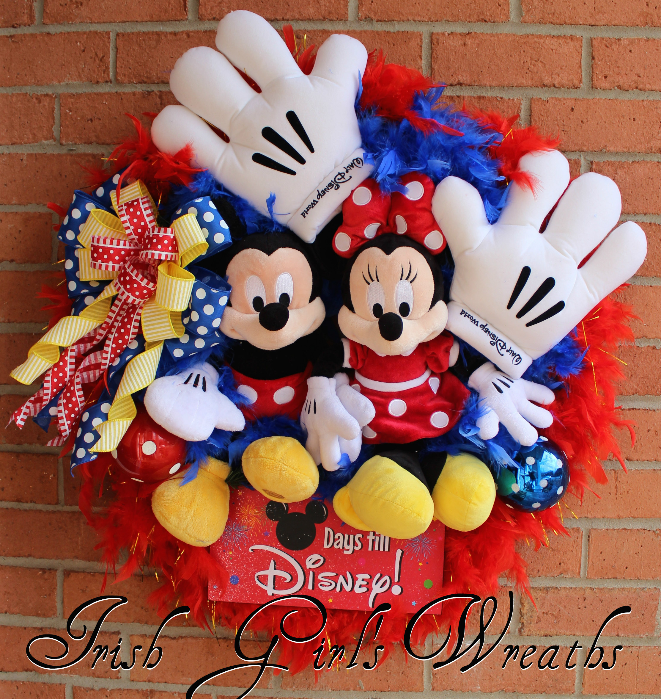 Countdown to Disney Mickey and Minnie Mouse Wreath, Custom for Dolores