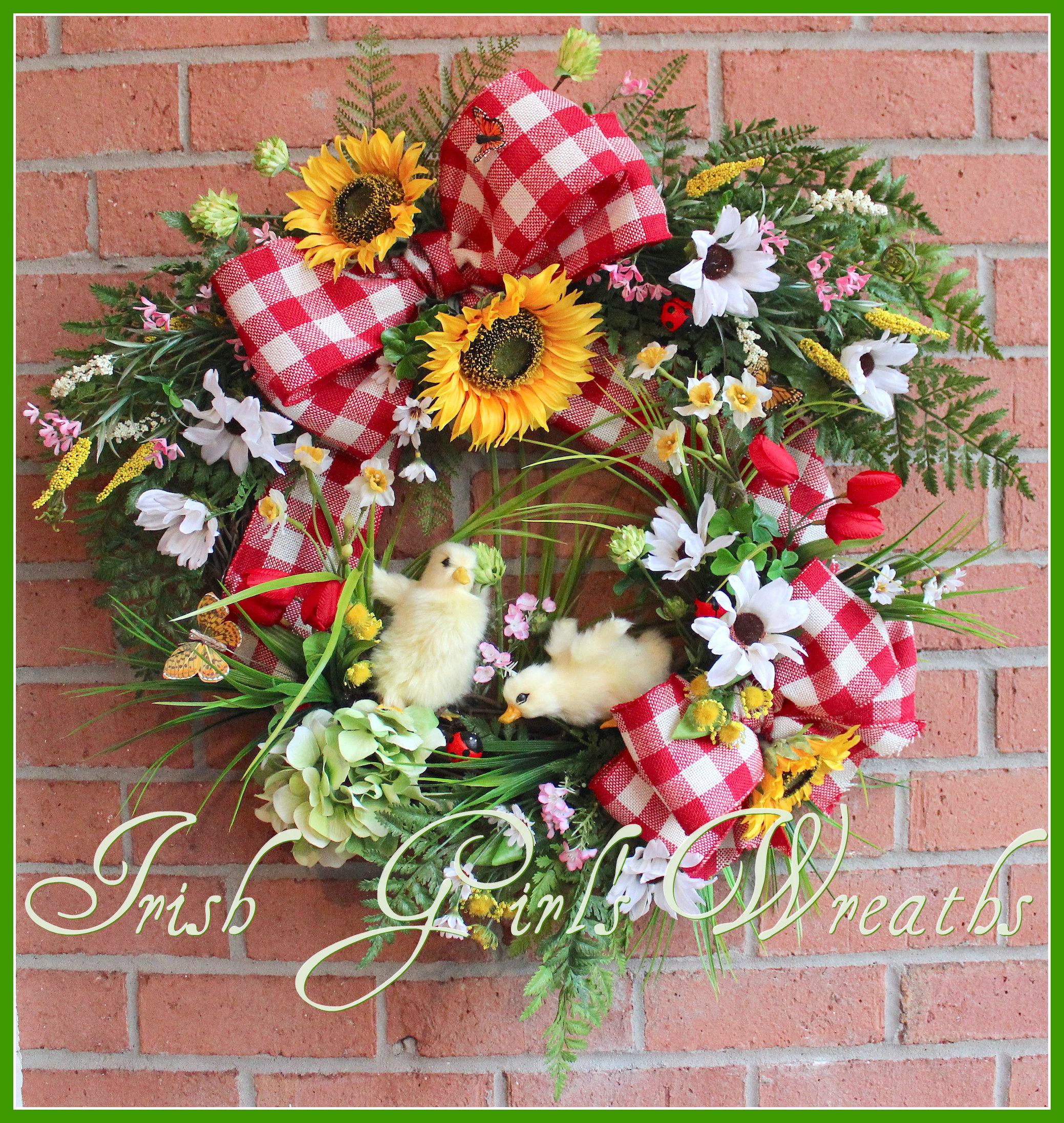 Baby Ducklings on the Farm Spring Wreath, Sunflower & Daisy Red Gingham Country Summer Wreath, butterfly, ladybug, tulip