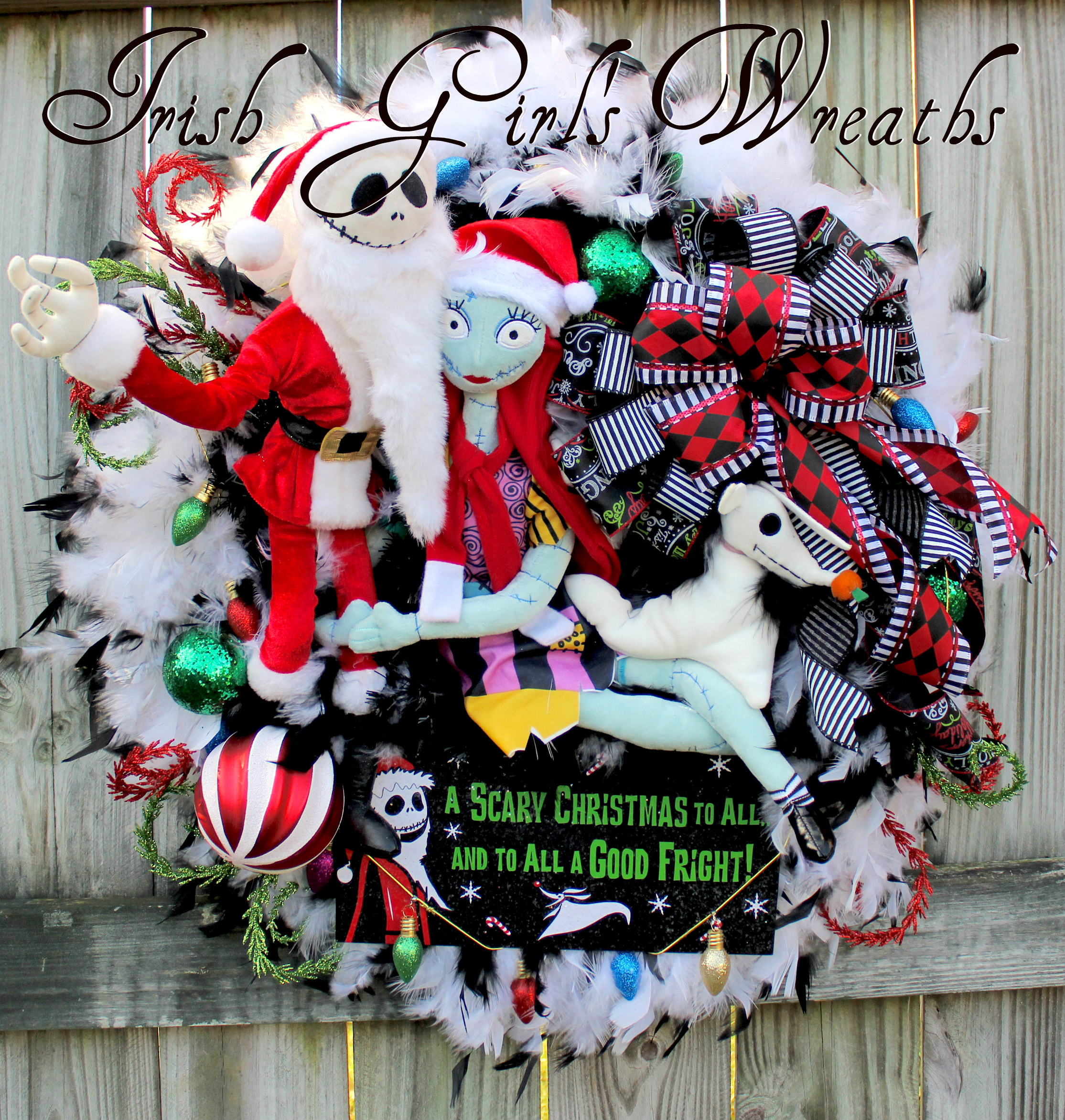 Sandy Claws Wreath, Deluxe Nightmare Before Christmas Wreath, Jack Skellington Wreath, Sally Zero Jack Skellington Wreath, Sandy Claws NBXmas