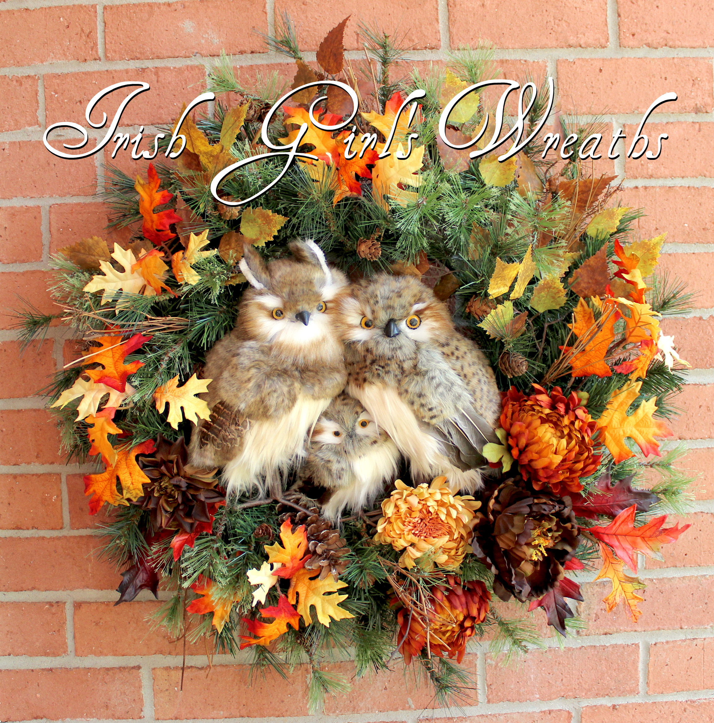 Large Rustic Autumn Owl Family Woodland Fall Wreath