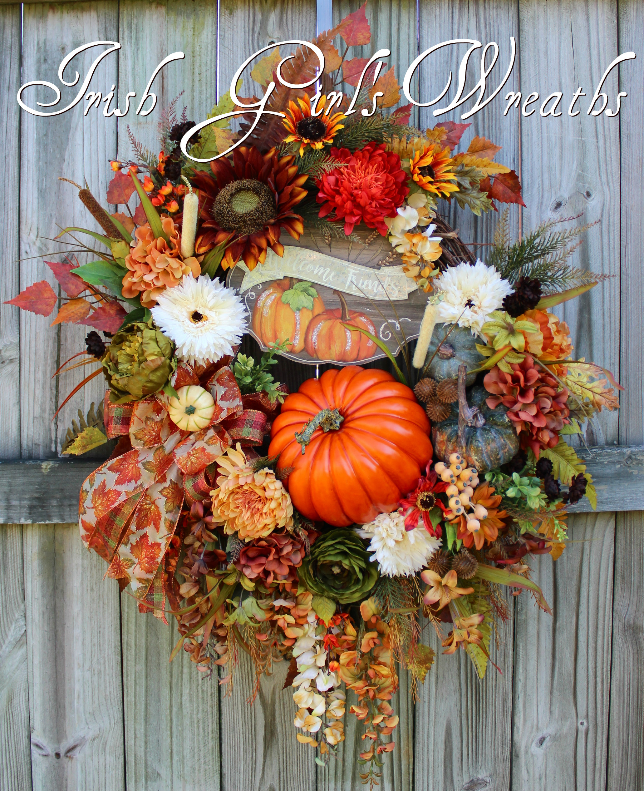 Welcome Friends Deluxe Fall Sunflower Wreath, XXL Autumn Pumpkin Wreath