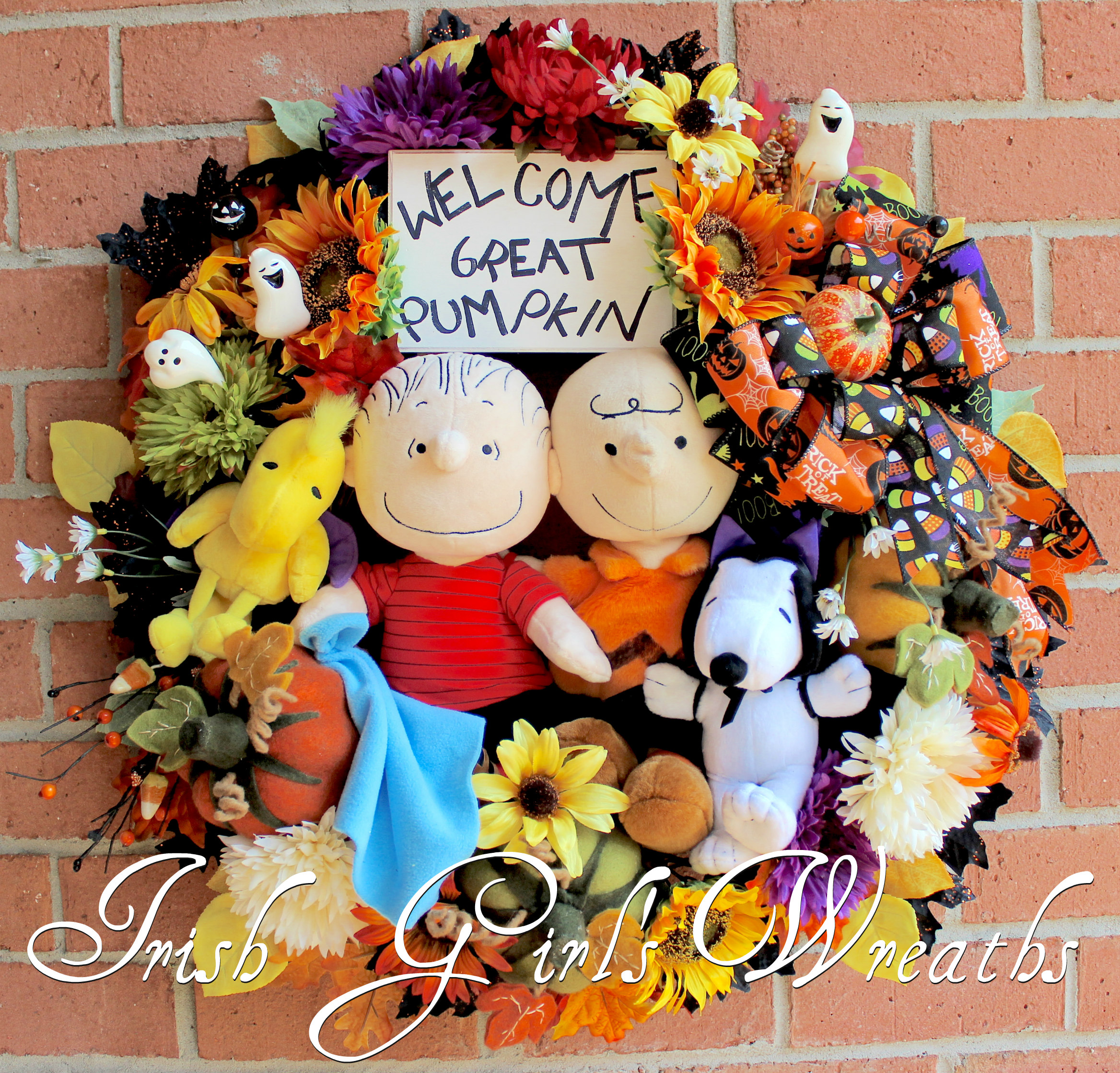 LAST 1 – Great Pumpkin Halloween Wreath, Charlie Brown, Linus, Snoopy, Woodstock, Peanuts Gang Decor